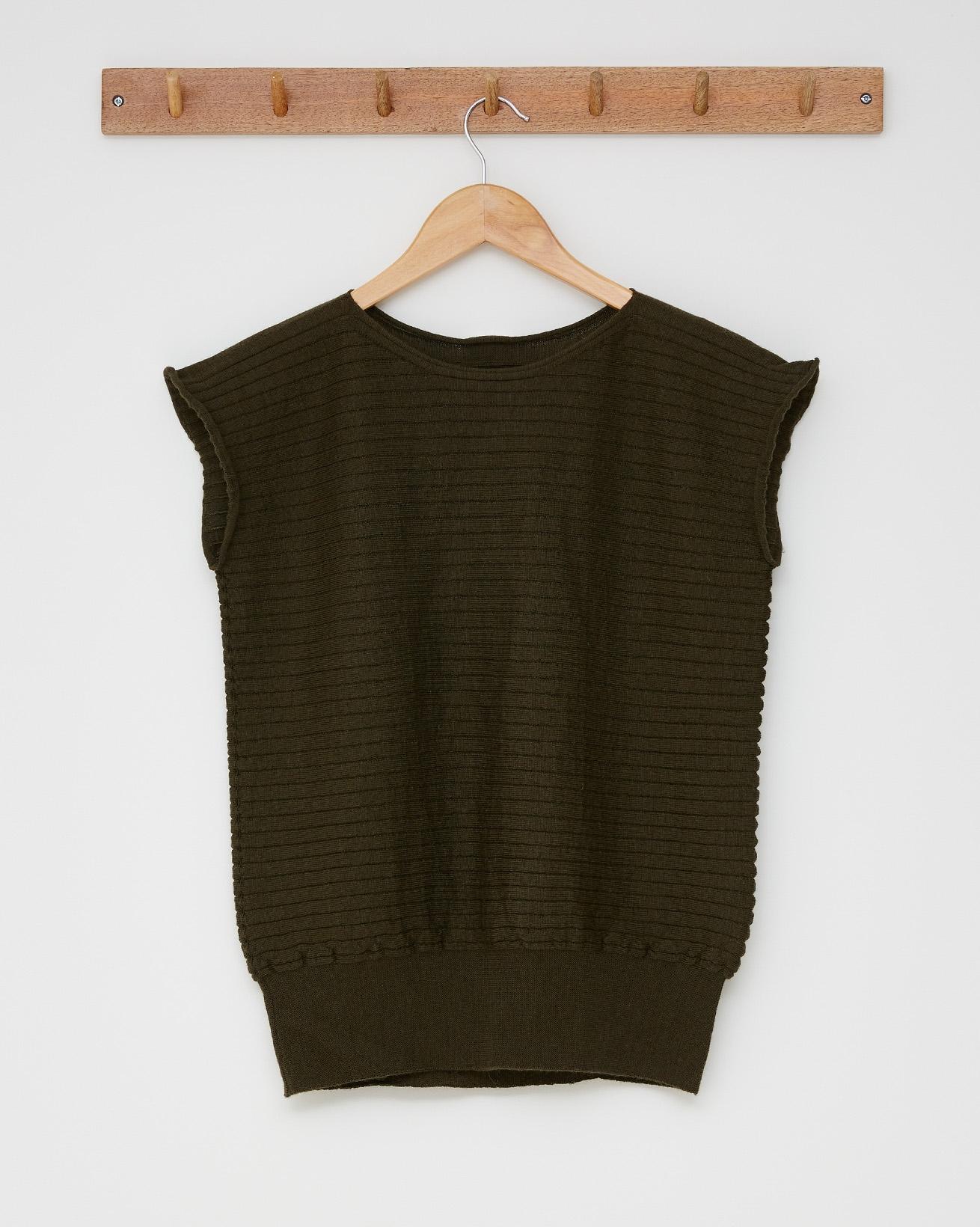 Merino horizontal rib top - Size Small - Olive - 2516