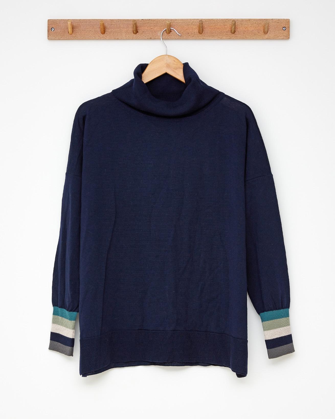 Slouchy fine knit roll neck - Size Small - Dark navy, multi - 2517
