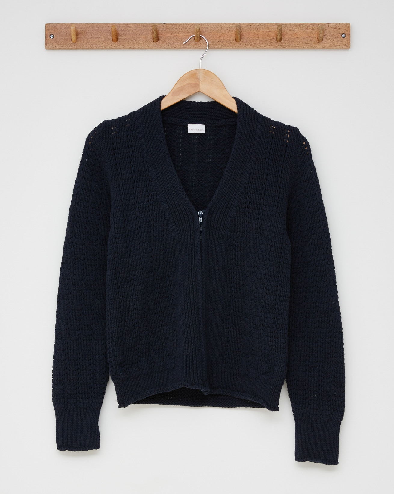 Cotton detailed zip up cardigan - Size Small - Navy - 2519