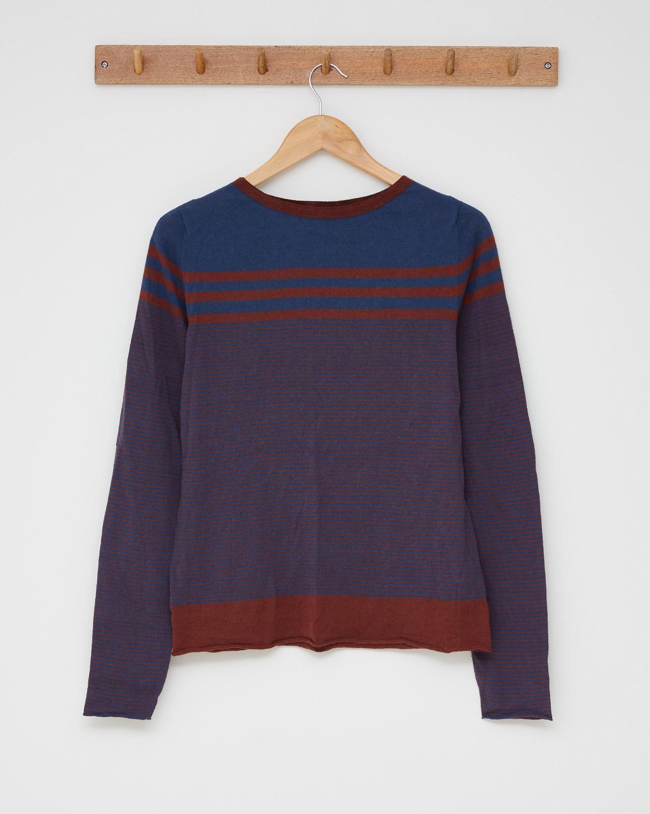 Stripey cotton crew top - Size Small - Rust, icelandic blue - 2521
