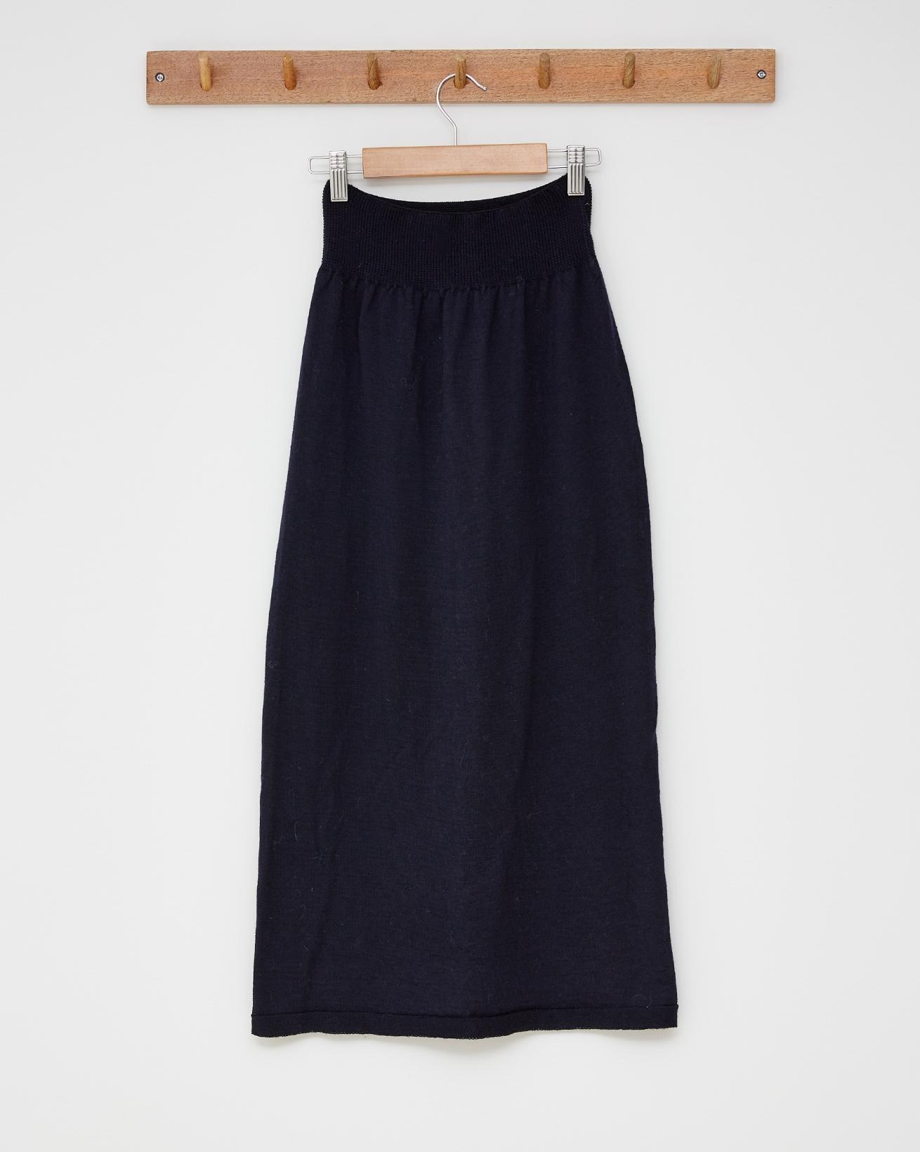 Ladies merino skirt - with back leg slit - Size Small - Navy - 2525