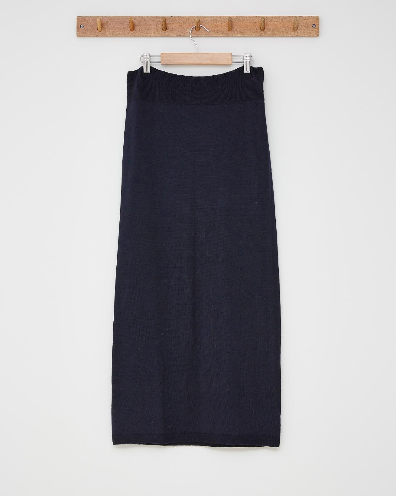Ladies merino maxi skirt - Size Small - Navy - 2526