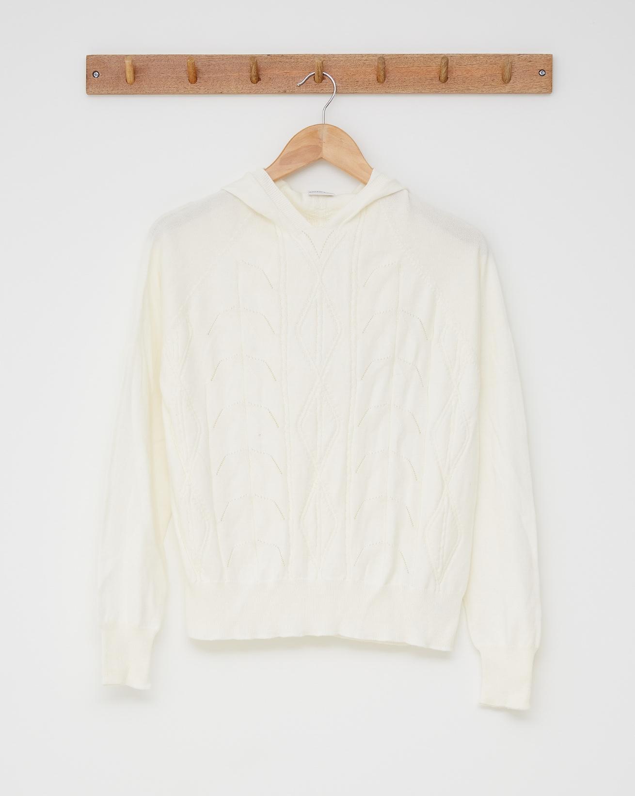 Cotton lace detail hoodie - Size Small - Ecru - 2527