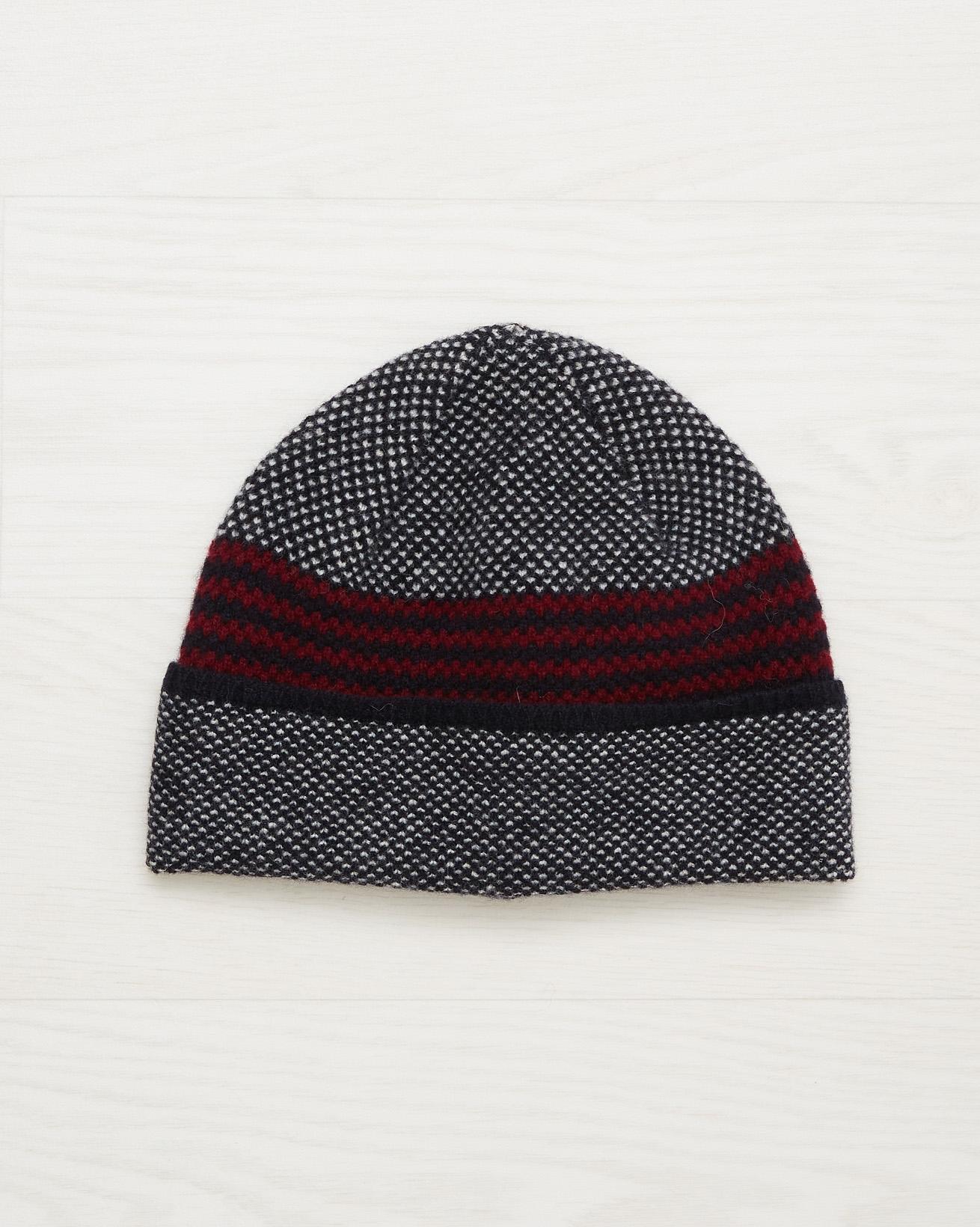 Men's Lambswool Stripe Beanie - Claret - One Size - 2536