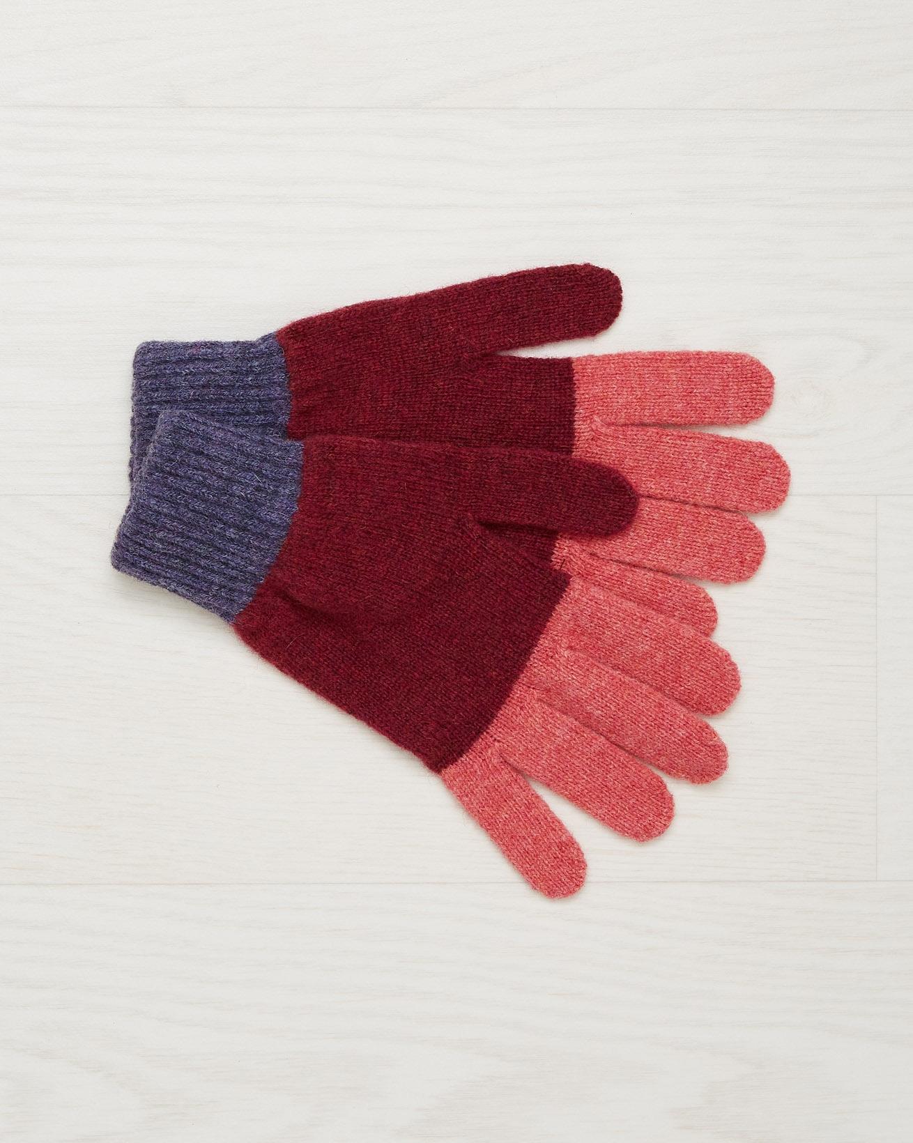 Shetland Wool Gloves - Claret - One Size - 2542