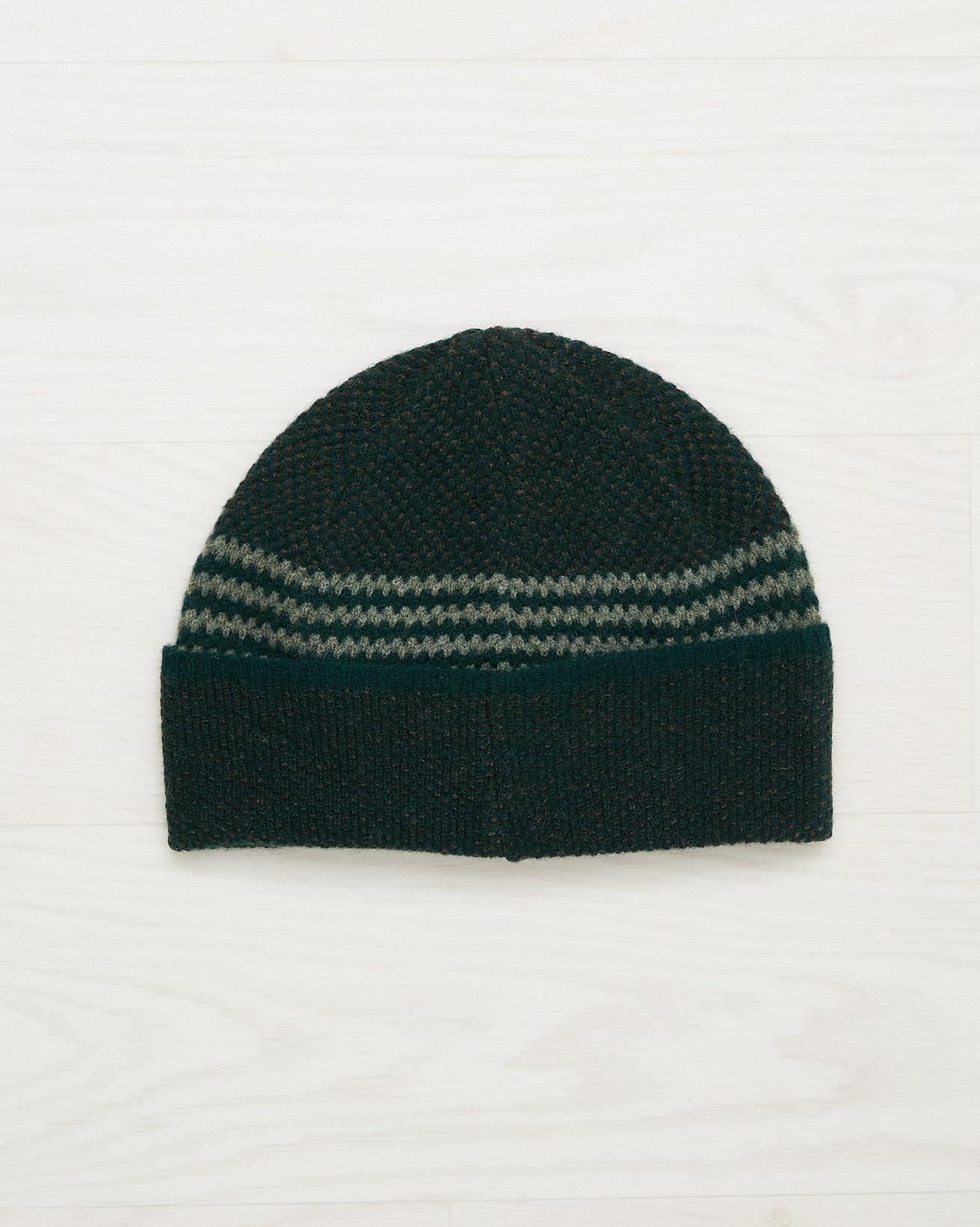 Men's Lambswool Stripe Beanie - Olive - One Size - 2533