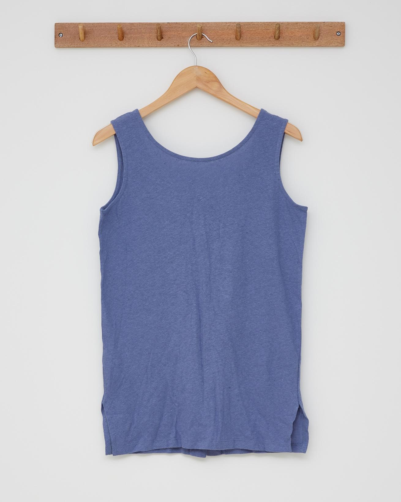 Linen Cotton Scoop Neck Vest - Cornflower Blue - Size 10 - 2550