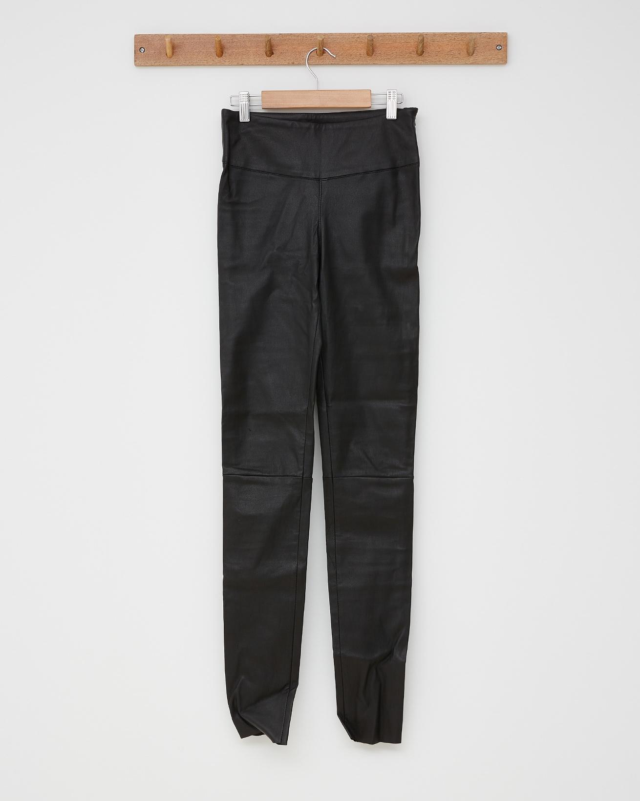 Stretch Leather Leggings - Black - Size 8 - 2556