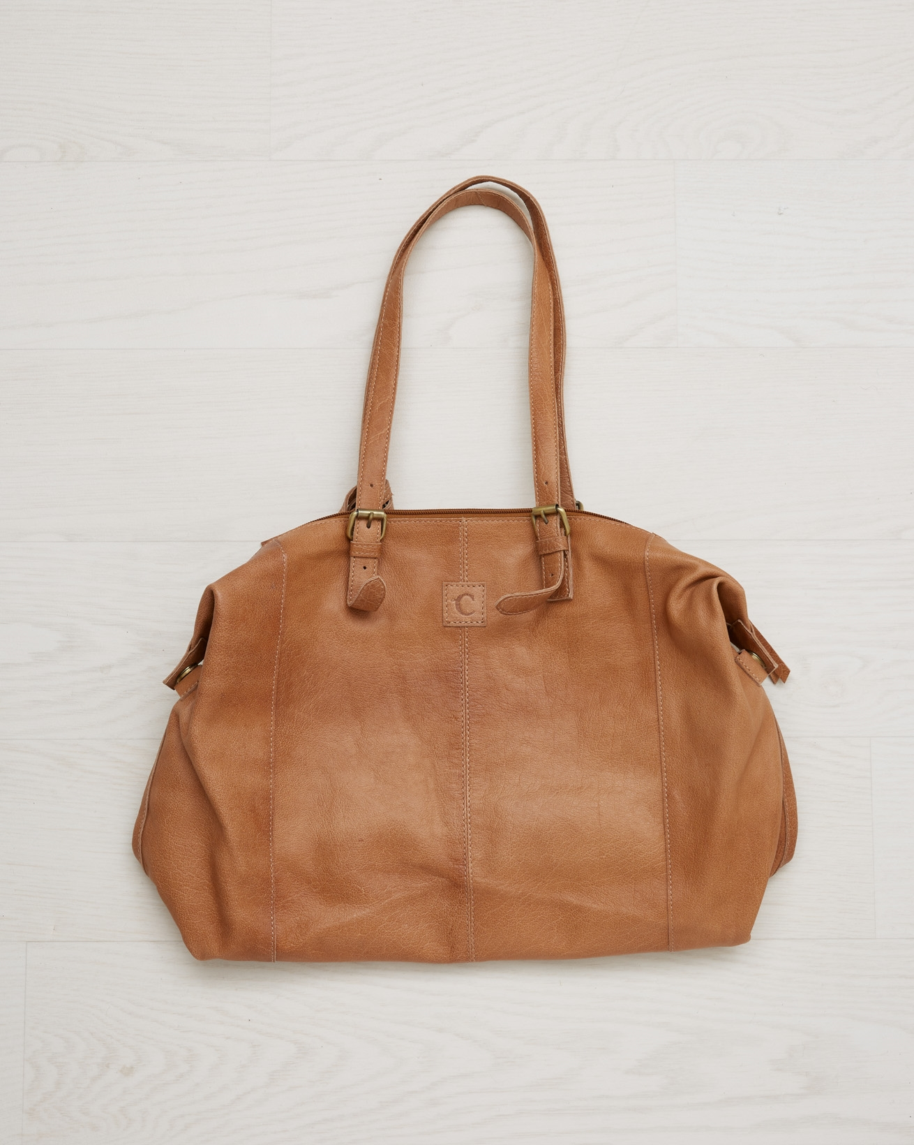Leather Holdall Style Bag - Camel - One Size - 2566