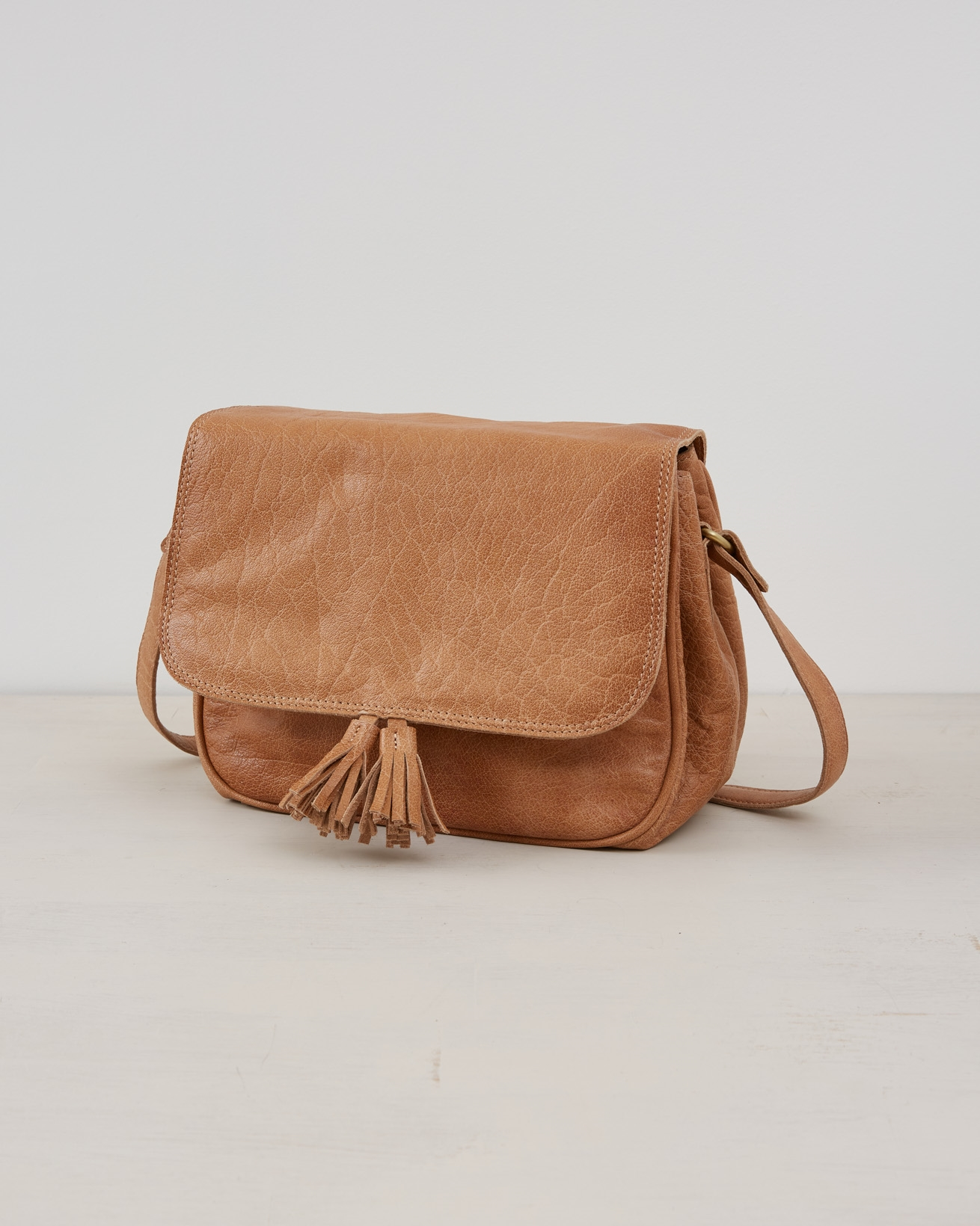 Leather Cross Body Bag with Flap - Camel - One Size - 2568