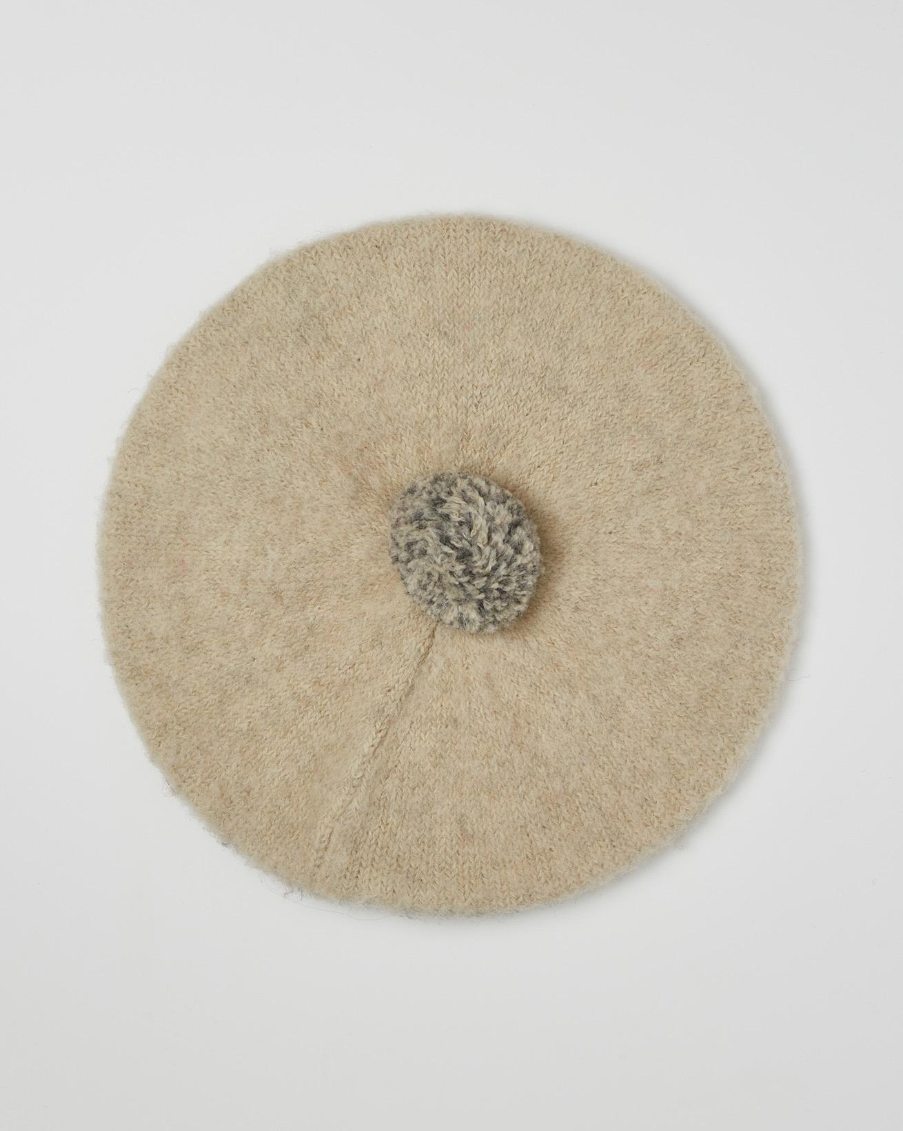 Shetland Wool Pom Pom Beret - Oatmeal Colourblock - One Size - 2589
