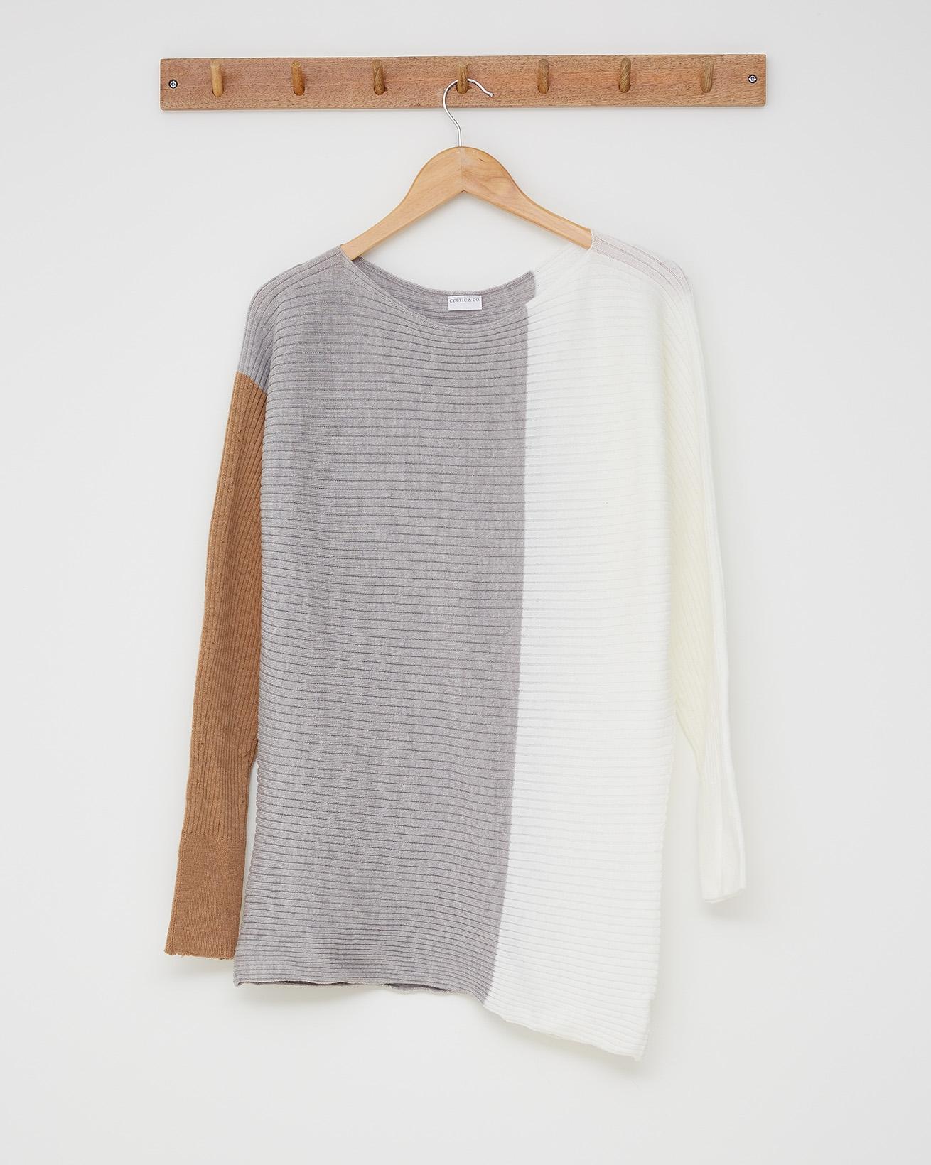 Colourblock tunic - Size Small - Milk, silver, camel - 2590
