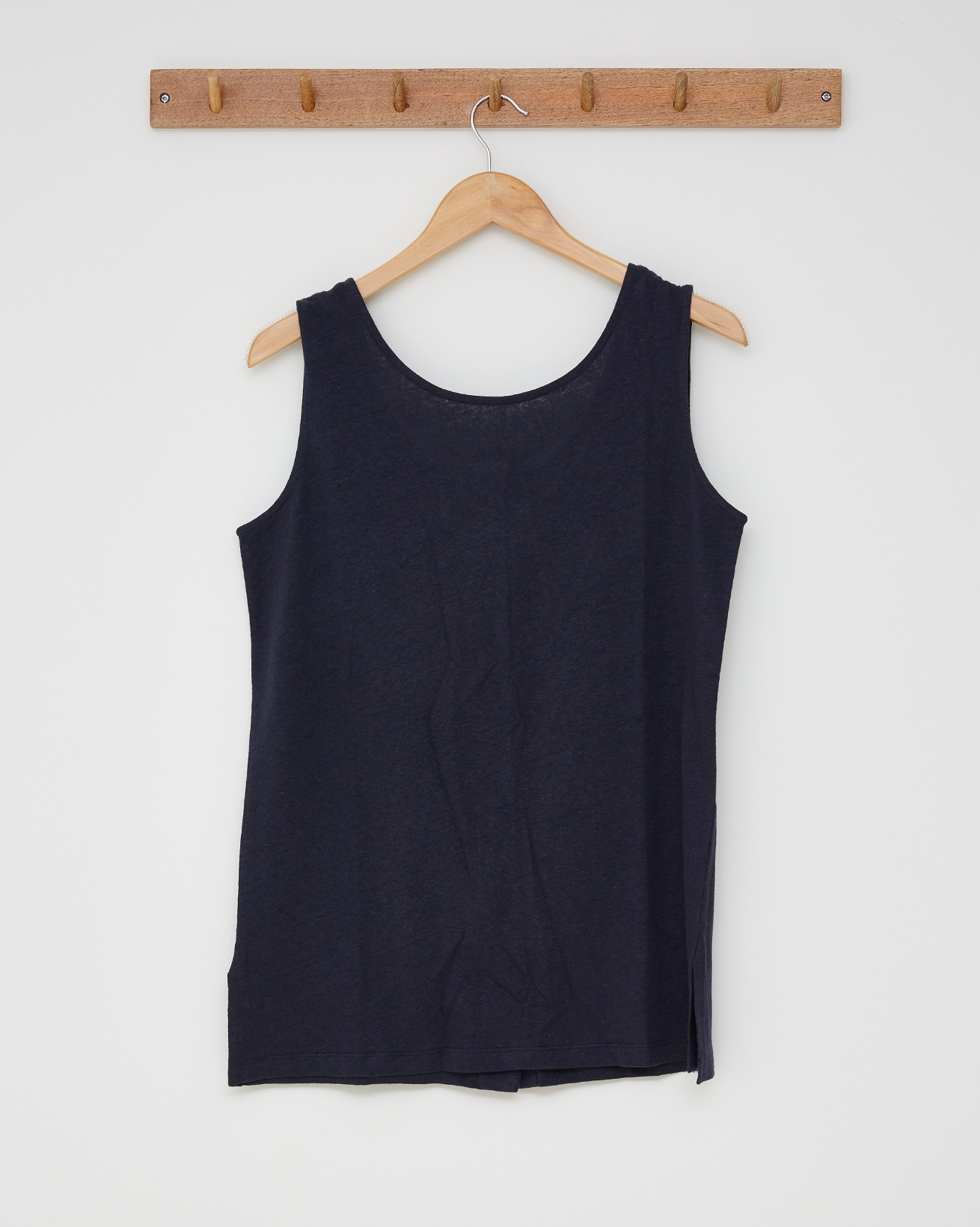 Linen cotton tunic top - Size 8 - Navy - 2593