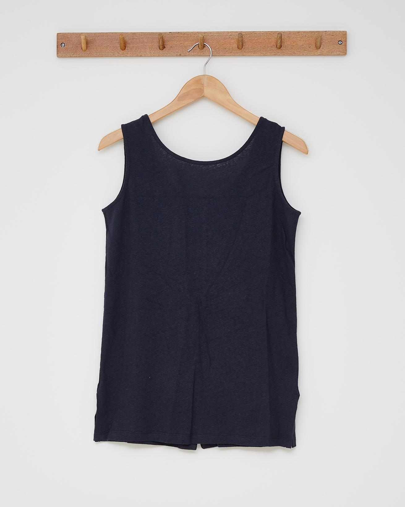 Linen cotton tunic top - Size 10 - Navy - 2594