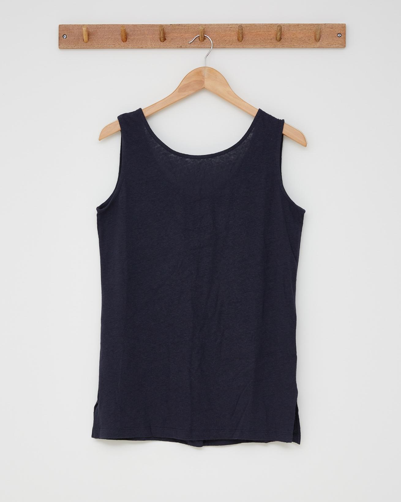 Linen cotton tunic top - Size 12 - Navy - 2595
