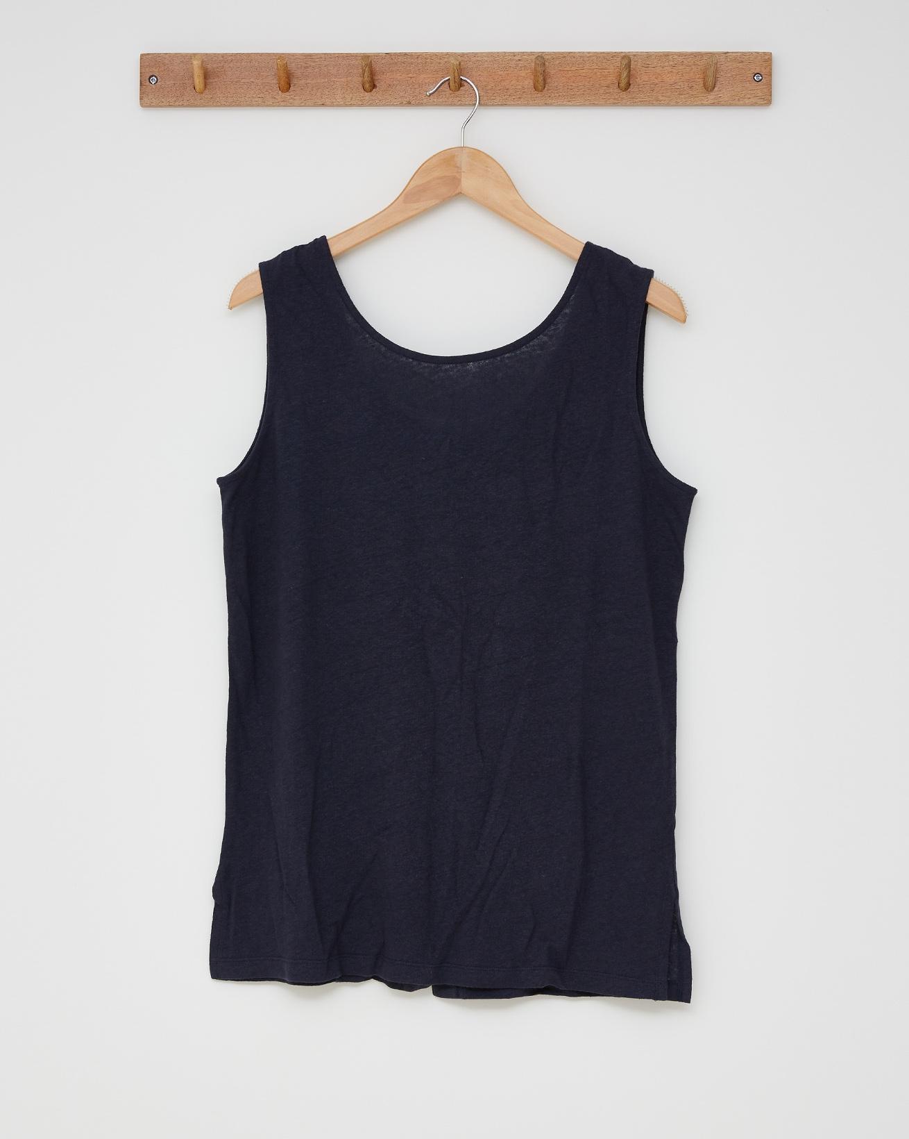 Linen cotton tunic top - Size 14 - Navy - 2596