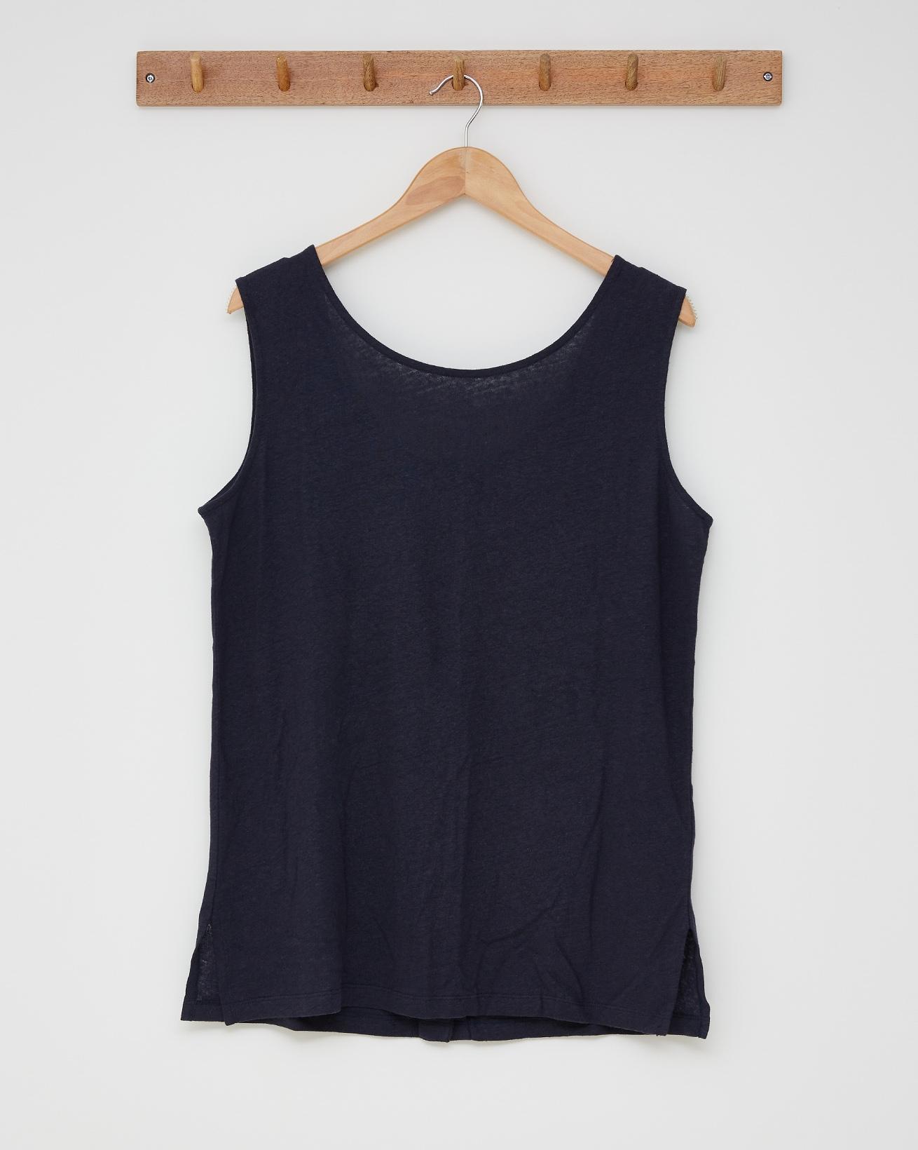 Linen cotton tunic top - Size 16 - Navy - 2597
