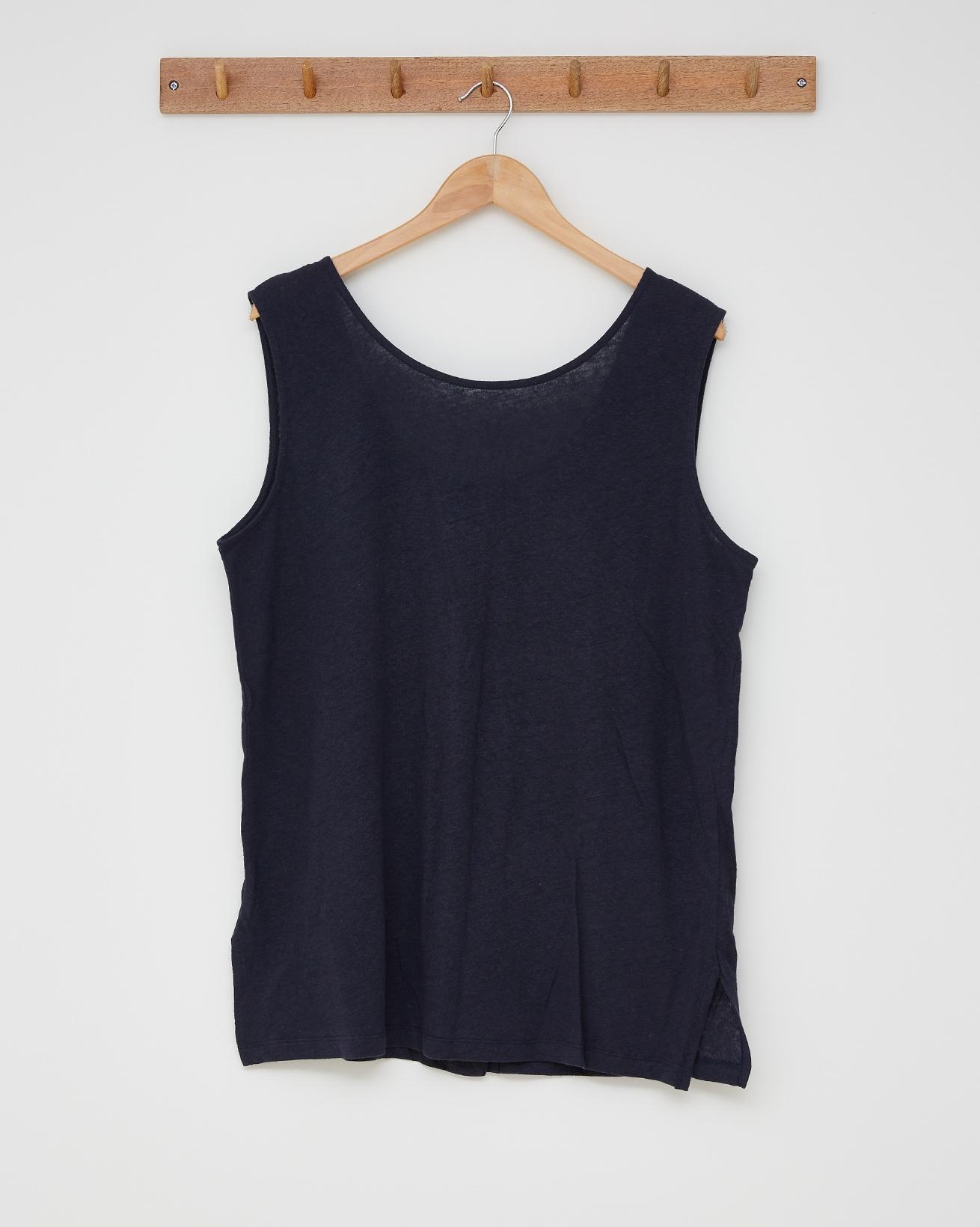 Linen cotton tunic top - Size 18 - Navy - 2598