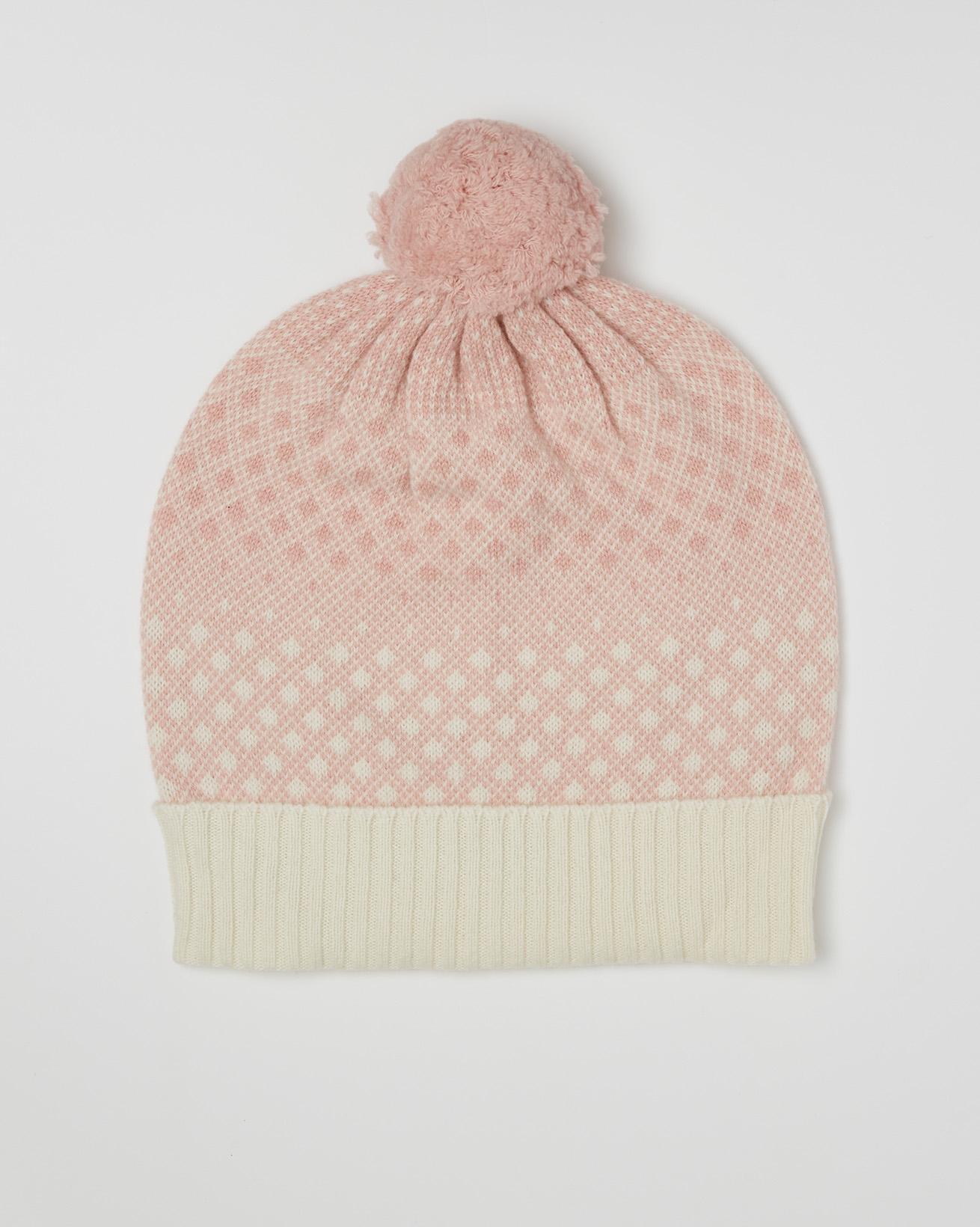 Cashmere Fairisle Pom Pom Beanie - One Size - Pink, Winter White - 2455