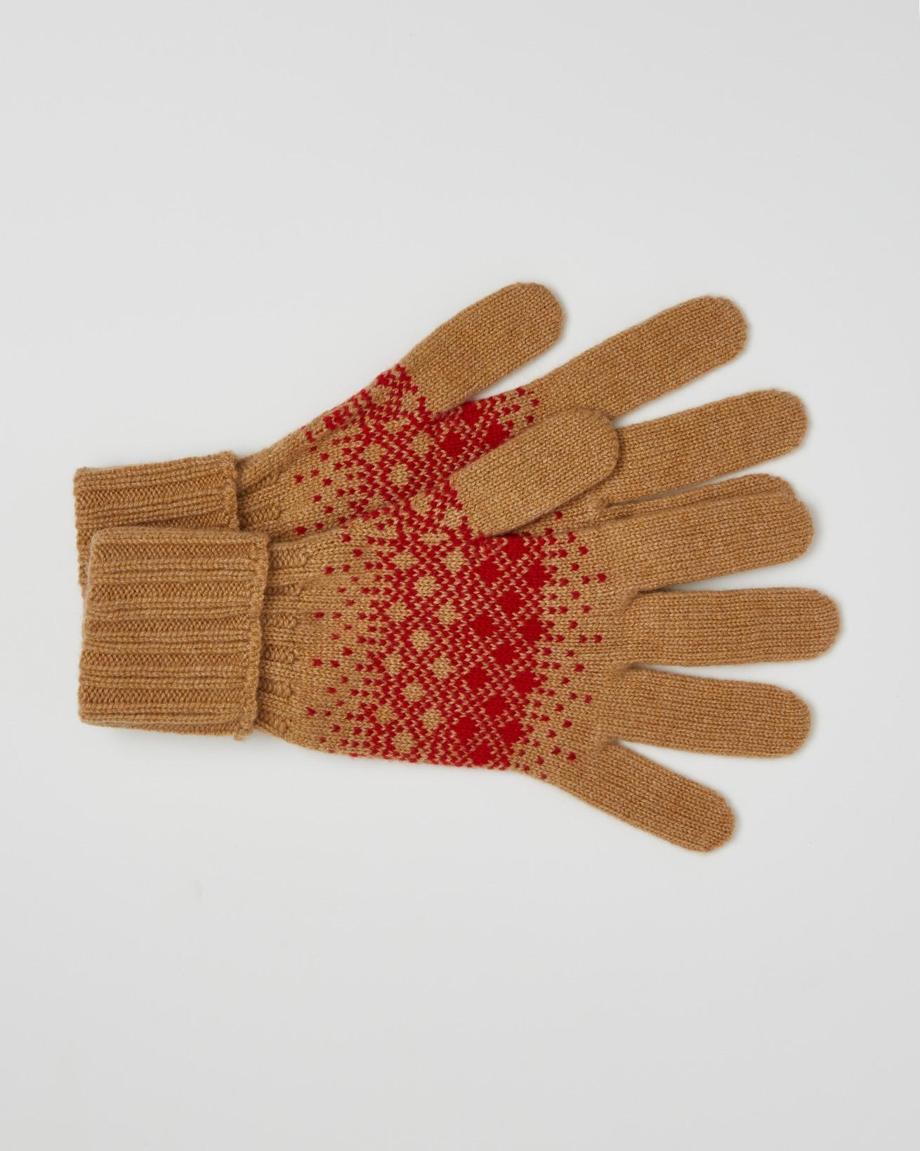 Cashmere Fairisle Gloves - One Size - Dark Camel, Pillarbox Red - 2459