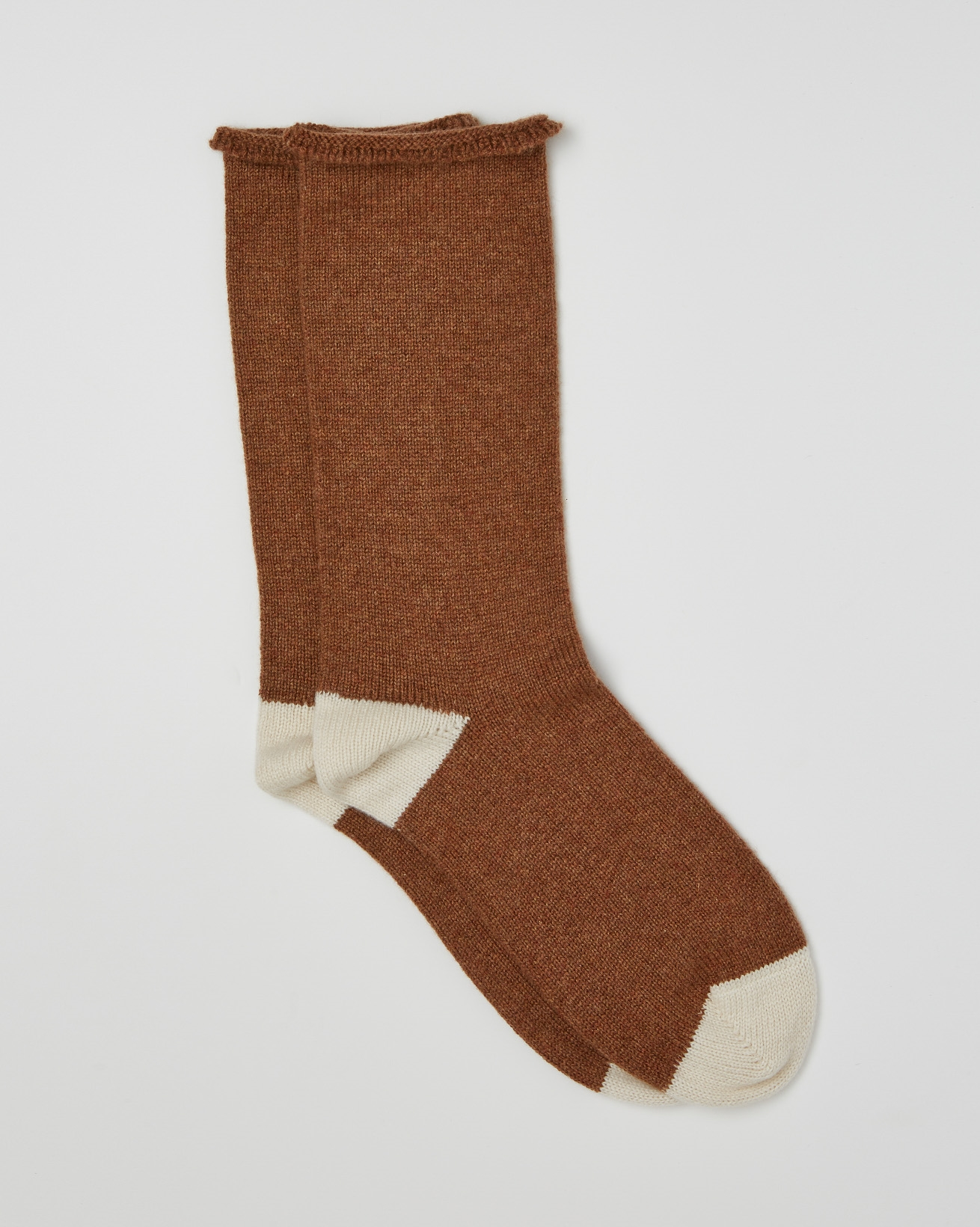 Ladies Pure Cashmere Lounge Sock - One Size - Rust - 2460