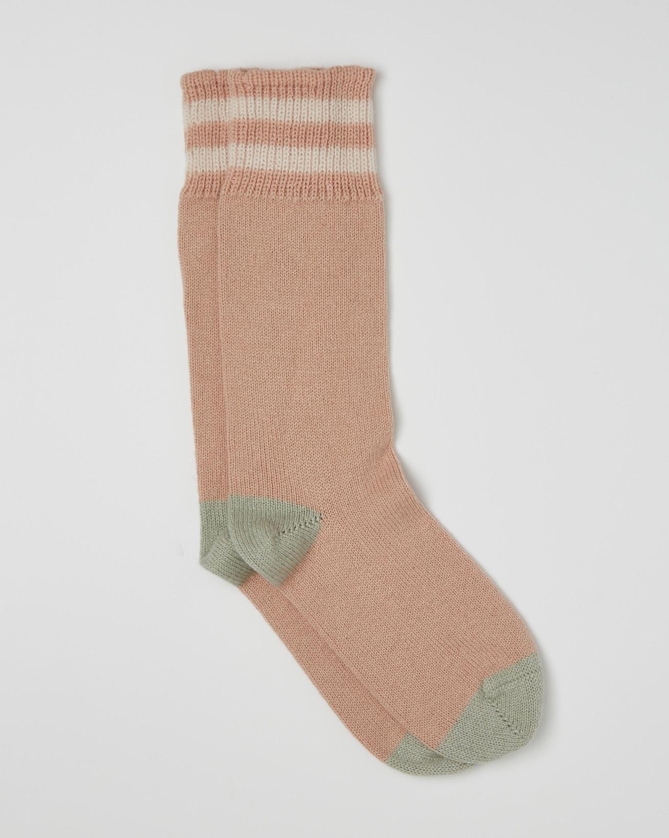 Ladies Cashmere Cotton Socks - Size Medium - Peony, Sage - 2461