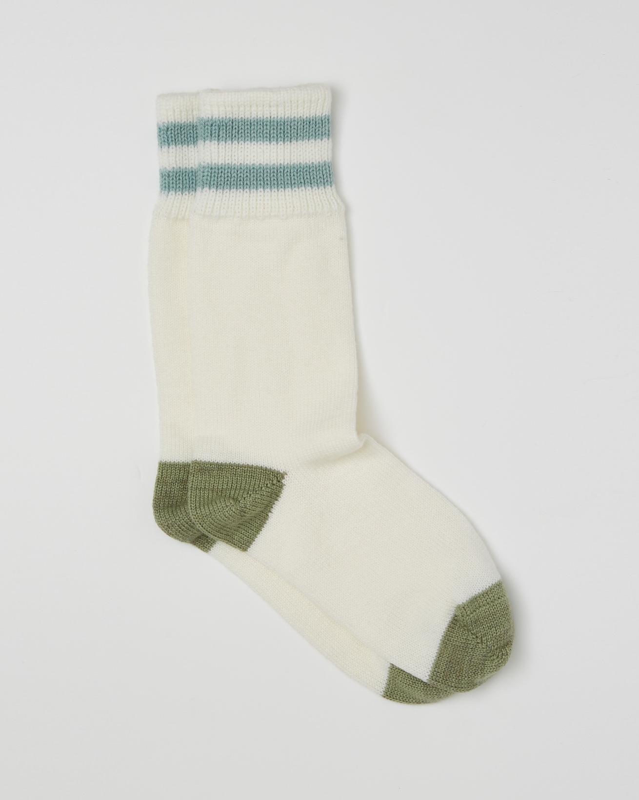 Ladies Merino Cotton Socks - Size Medium - Winter White, Sage - 2466