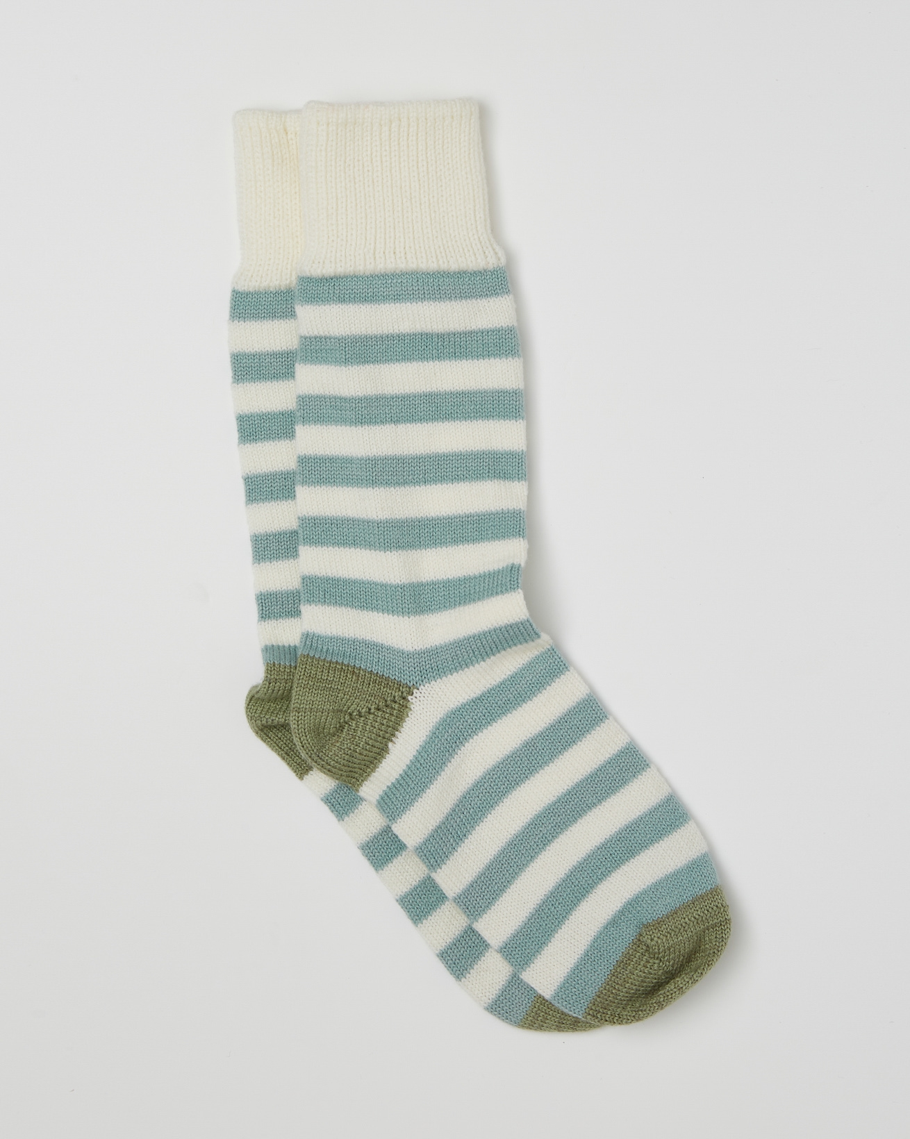 Ladies Cashmere Cotton Allover Stripe Socks - Size Medium -  Sage, Landscape Green - 2469