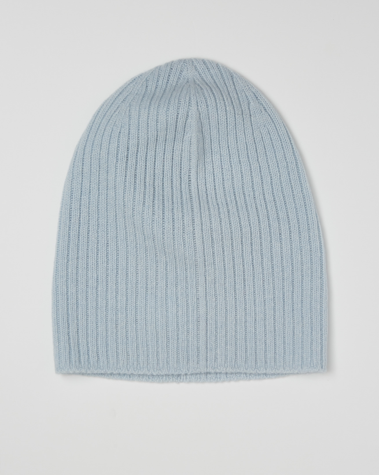 Cashmere Ribbed Beanie - Light Blue - One Size - 2619