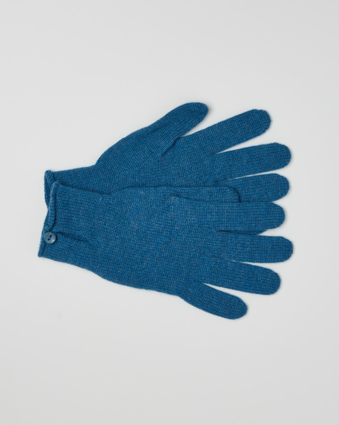 Cashmere Button Gloves - Cobalt Blue - One Size - 2627