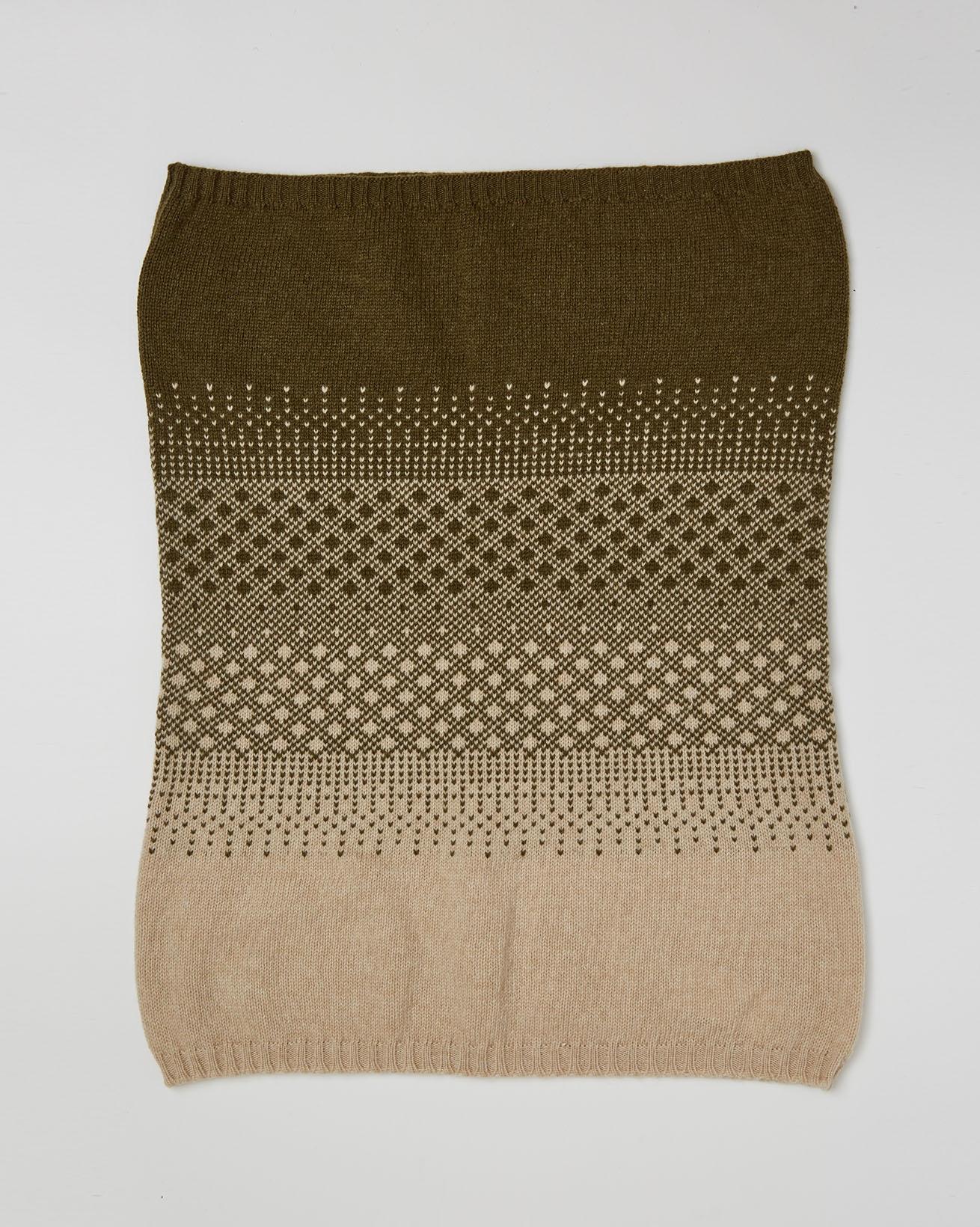 Cashmere Fairisle Snood - One Size - Olive, Camel - 2648