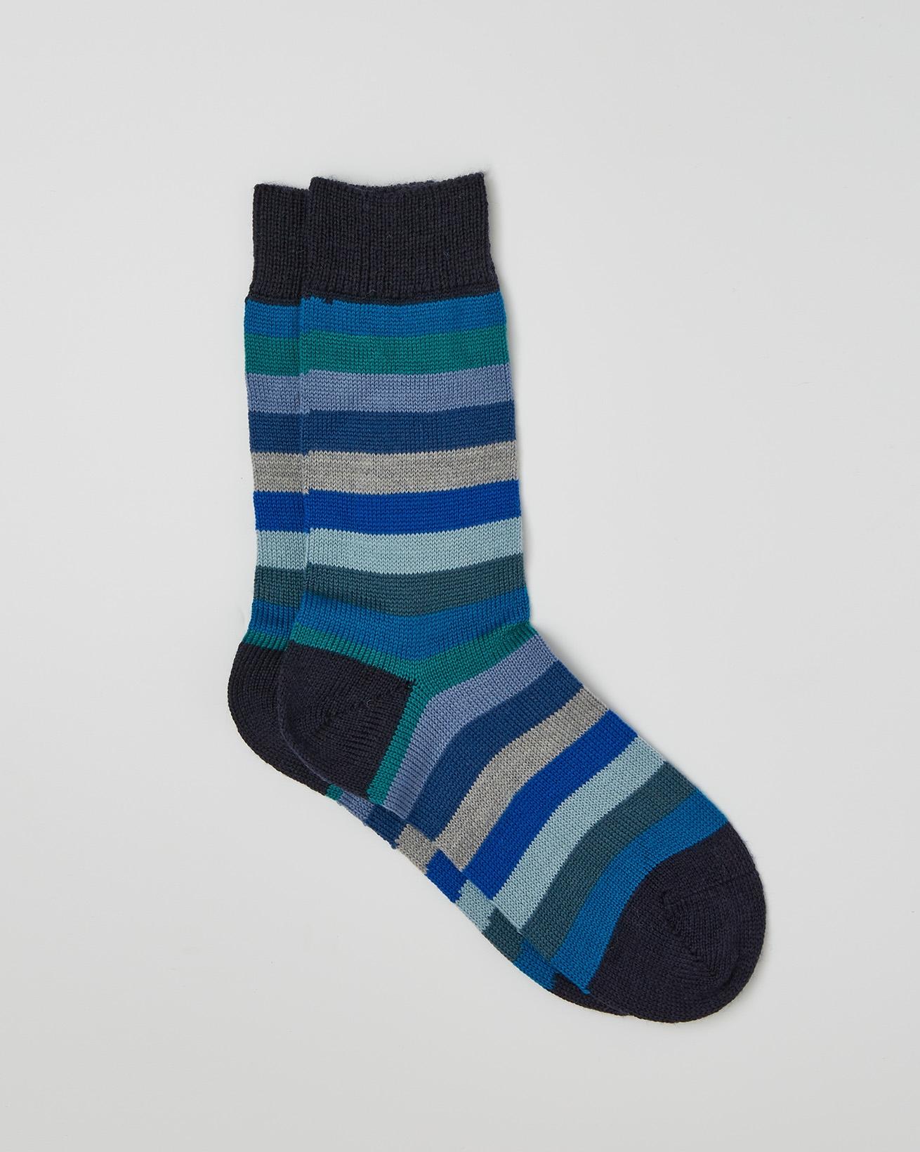 LADIES MERINO STRIPEY SOCKS - BLUE MIX - ONE SIZE - 2514