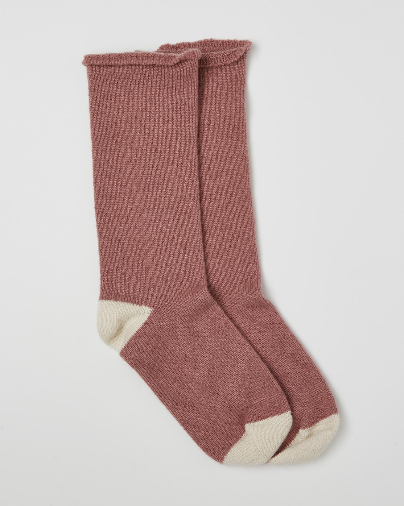 Ladies Pure Cashmere Lounge Socks - Berry - Size Medium - 2530