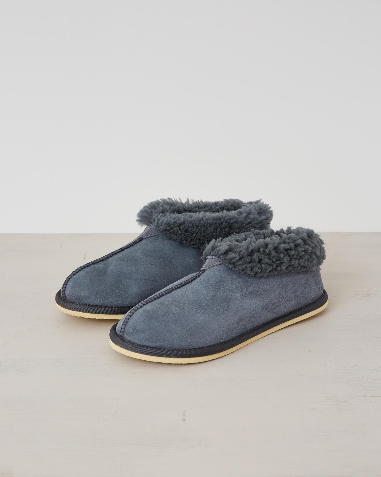 Ladies Sheepskin Bootee Slippers - Dark Grey - Size 6 - 2538