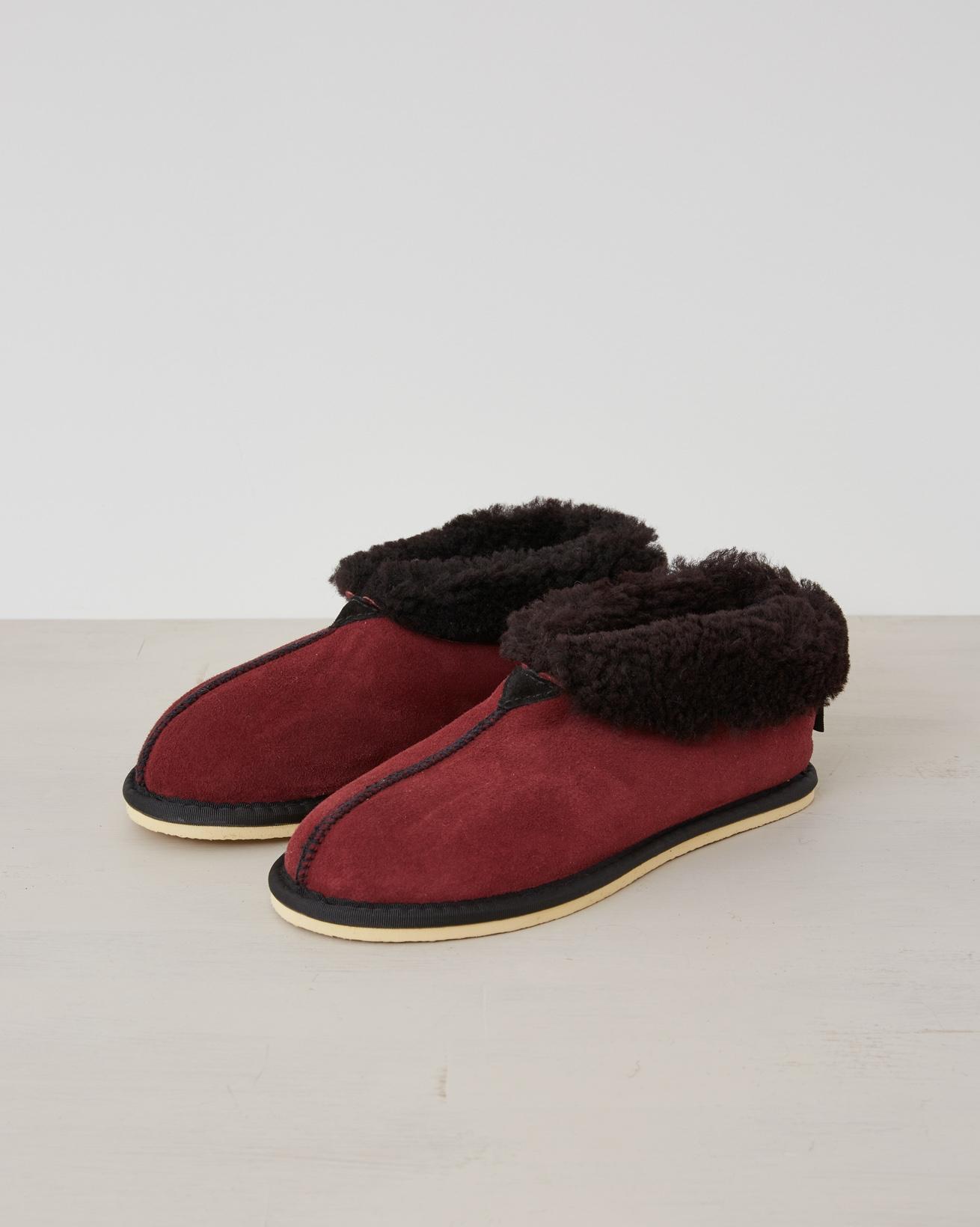 Ladies Sheepskin Bootee Slippers - Claret - Size 5 - 2539