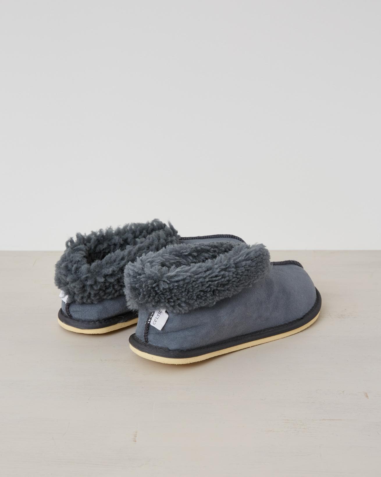 2470-ladies sheepskin bootee slippers - dark grey - 5 - back.jpg