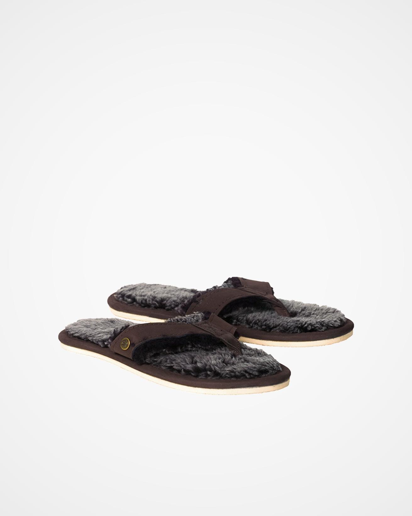 Shearling Flip Flops - Mocca - Size 7 - 2473