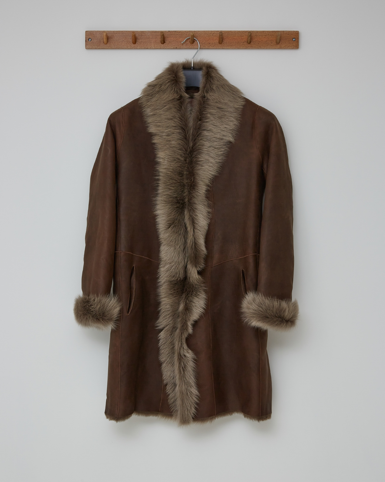 3/4 TOSCANA TRIM COAT - TANNERS BROWN NAPPA - SIZE 8 - 2556