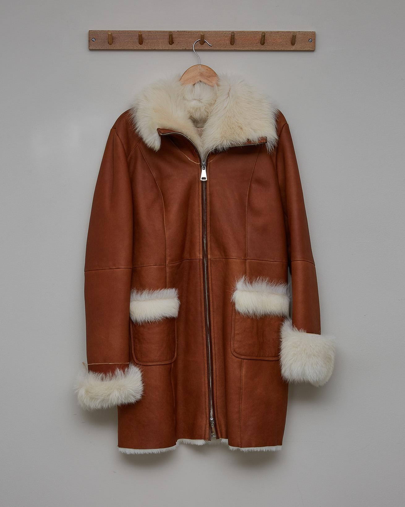 Toscana Trim Zip Up Coat - Honey - Size 14 - 2709