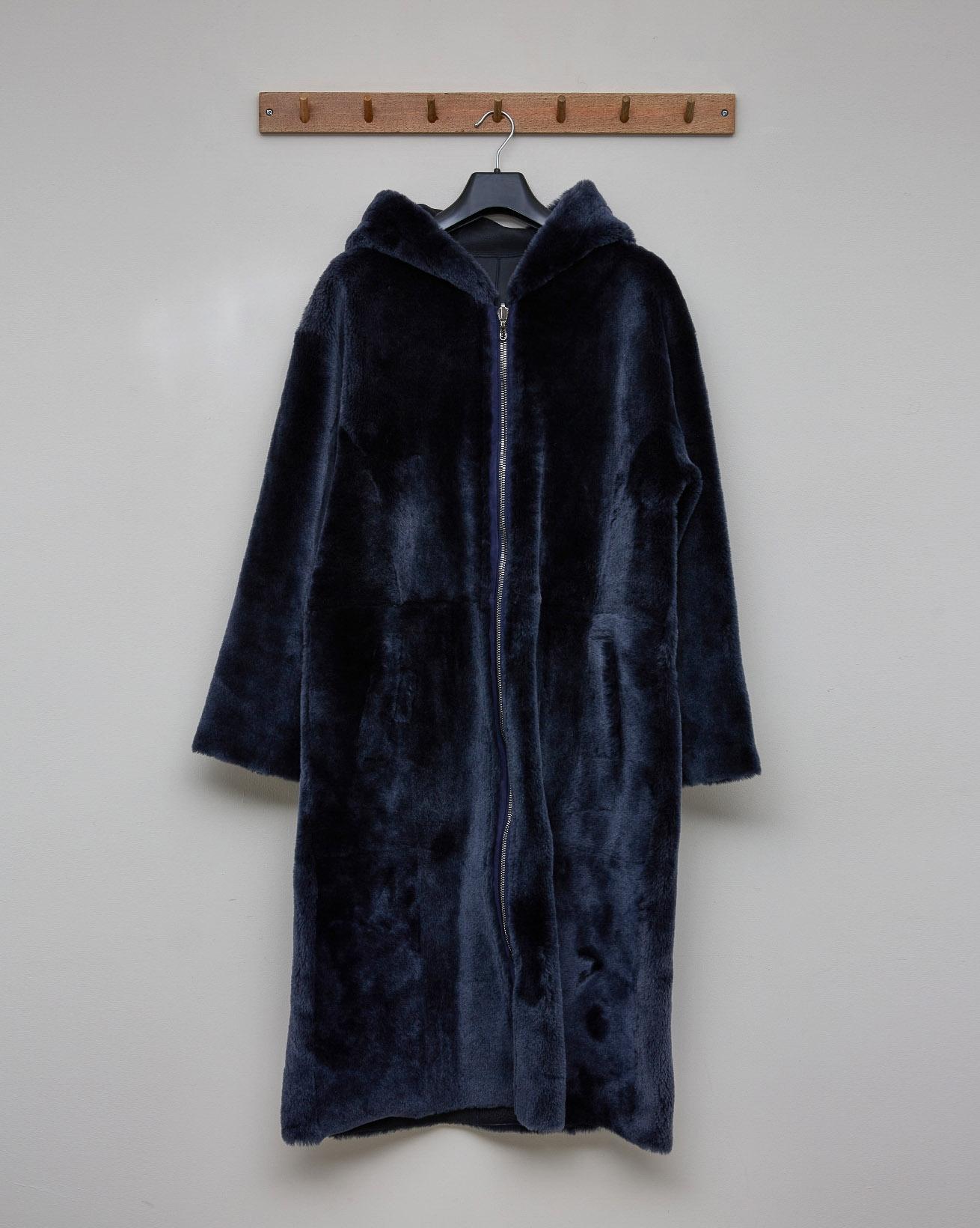Reversible Hooded Zip Up Coat - Dark Navy - Size 10 - 2577