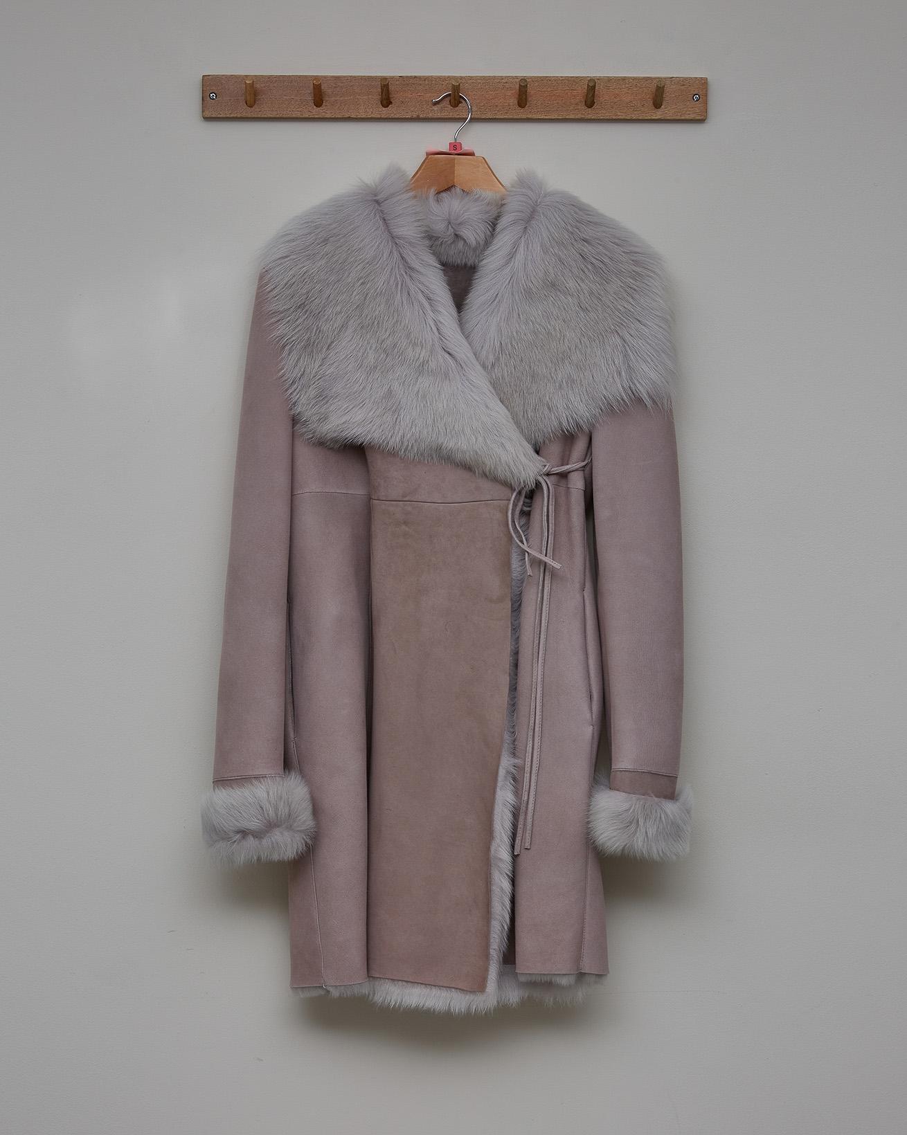 Toscana Trim Wrap Coat - Taupe Grey - Size 10 - 2787