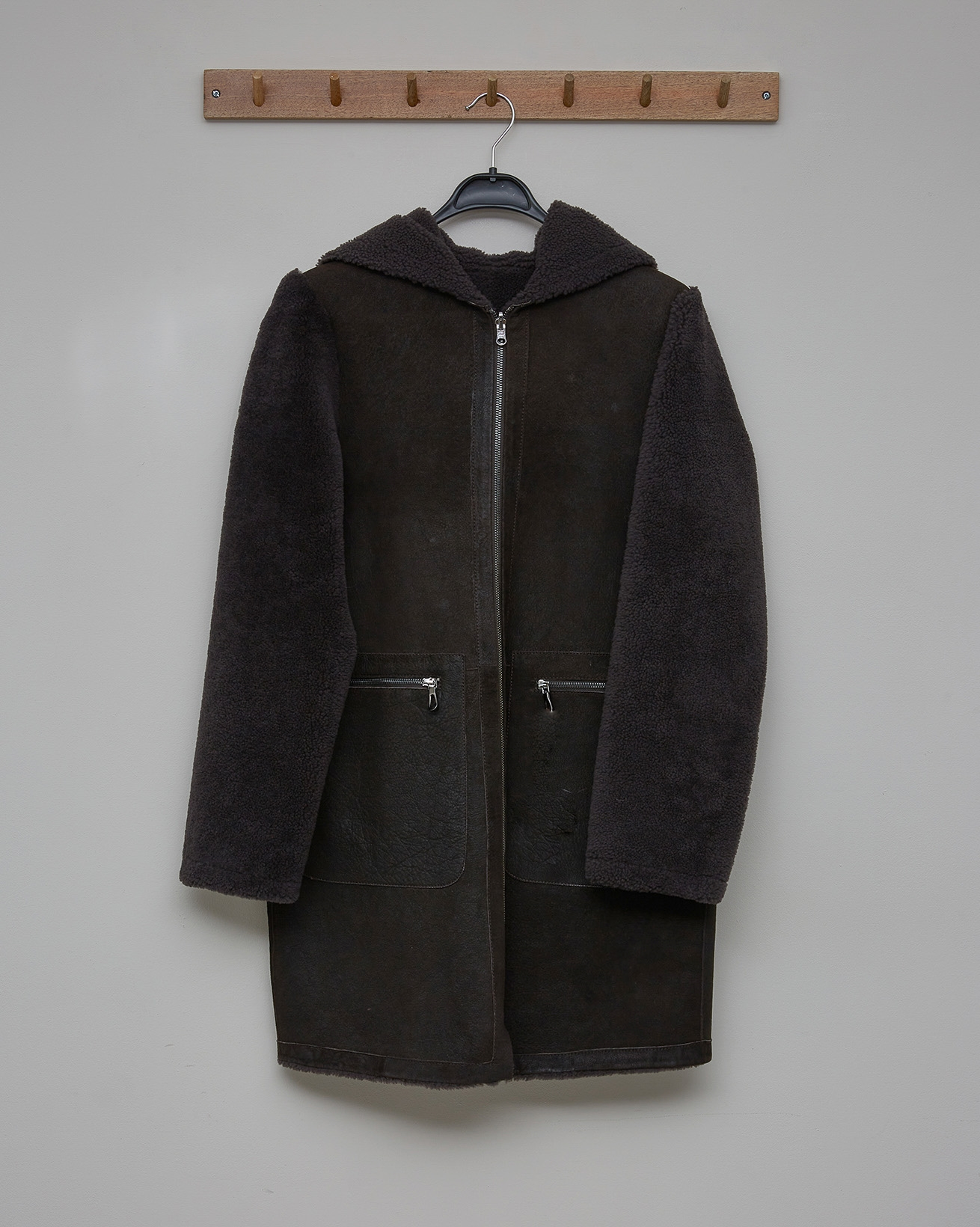 Reversible Hooded Zip Up Sheepskin Coat - Mocca - Size  12 - 2789