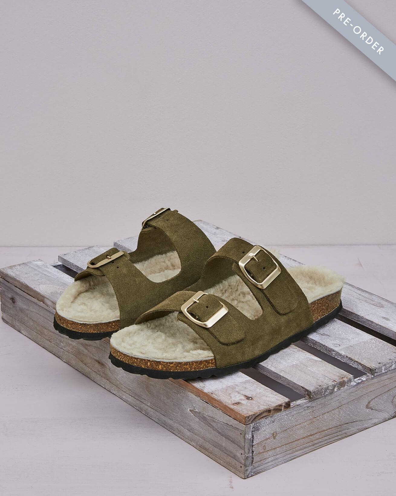 Sheepskin Lined Buckle Sandal