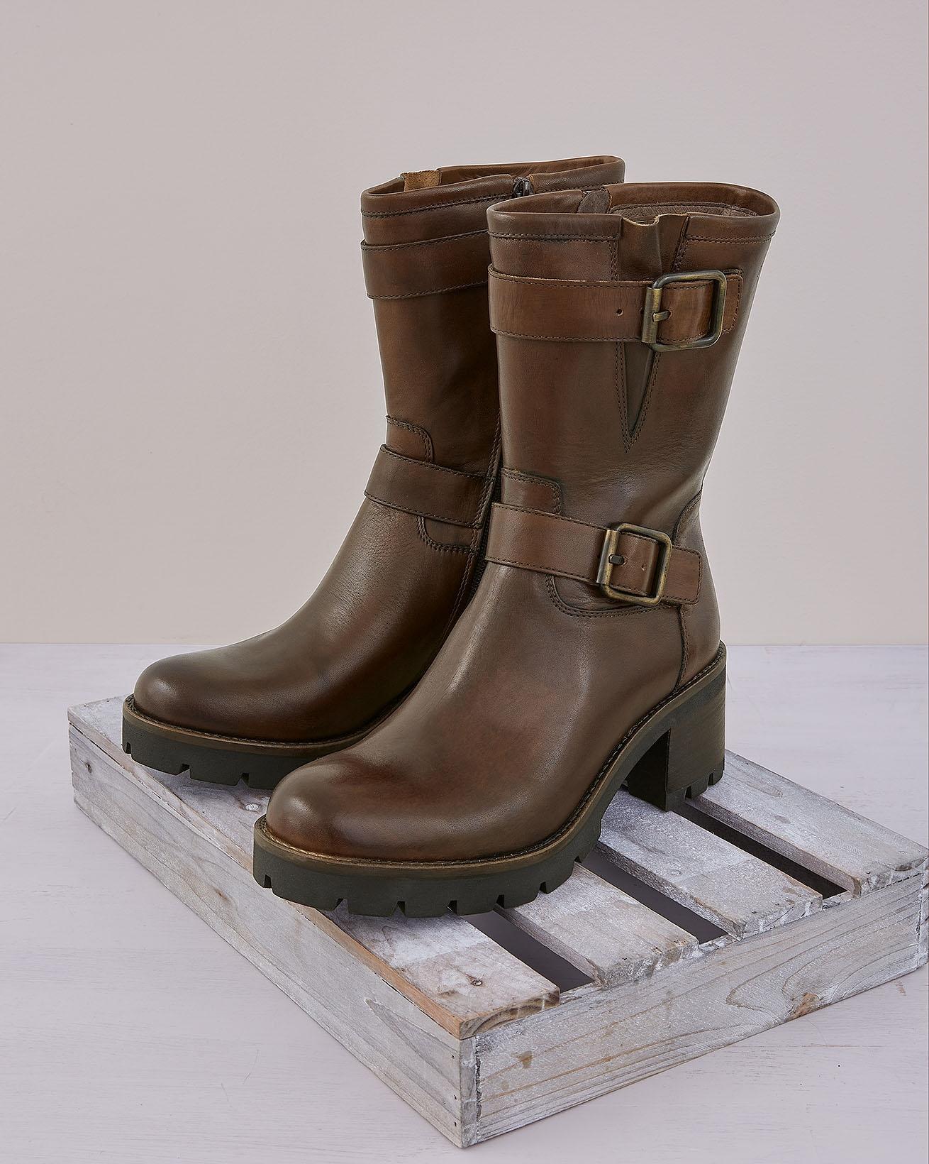 Block Heel Biker Boots