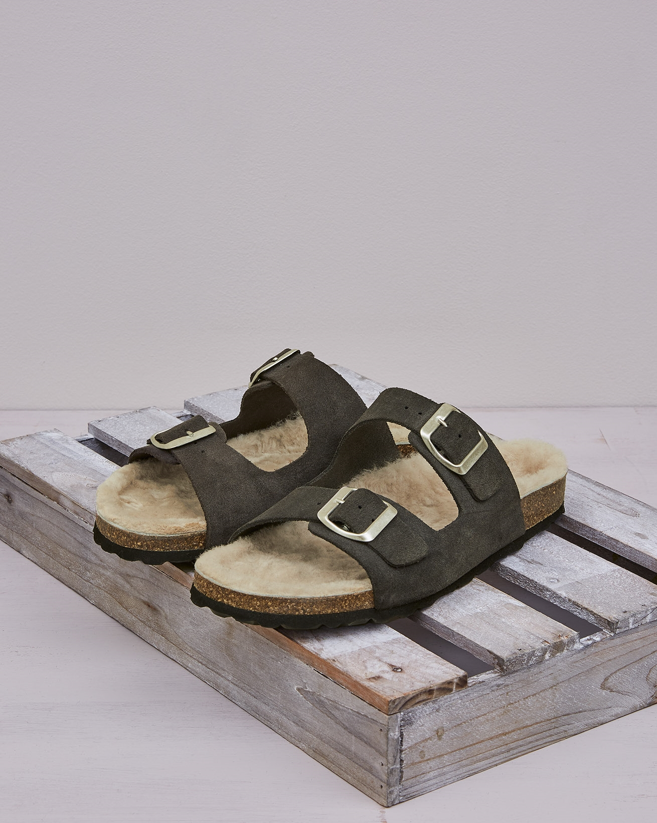 Shearling Lined Buckle Sandal