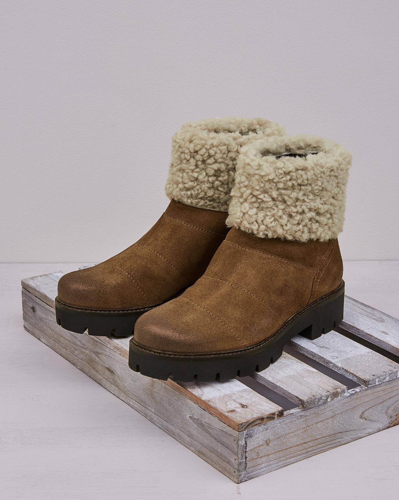 Shearling Cuff Short Boot