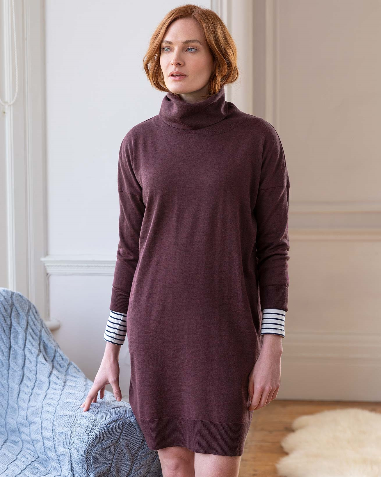Slouchy Fine Knit Turtleneck Dress