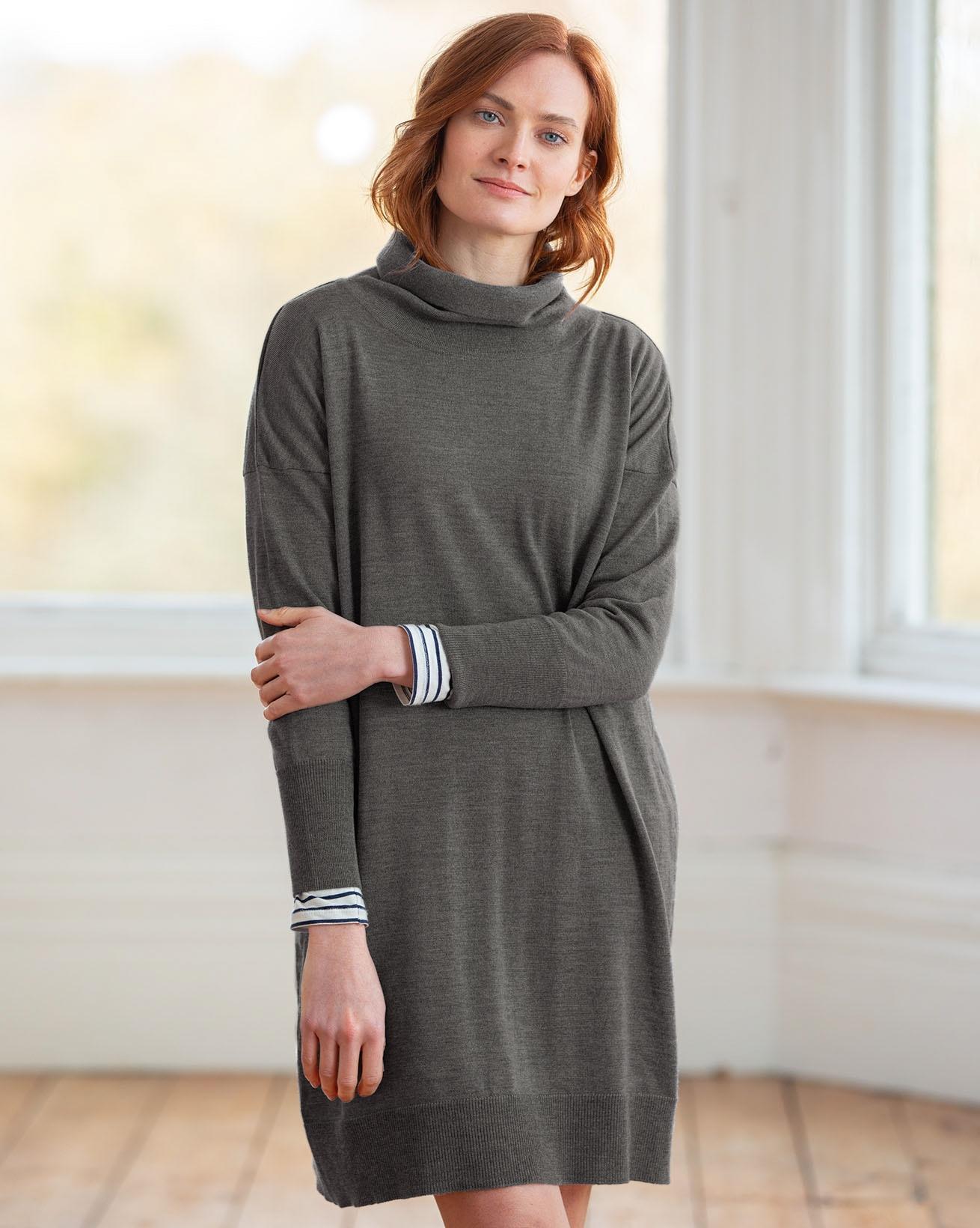 Slouchy Fine Knit Roll Neck Dress