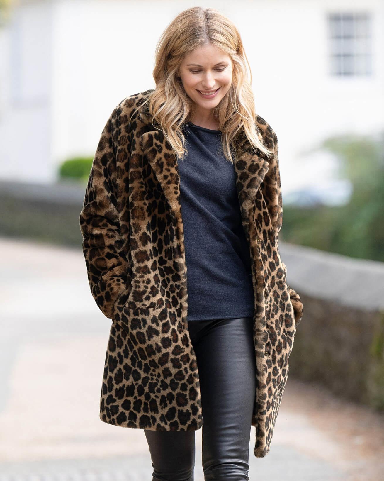 Leopard Print Sheepskin Coat