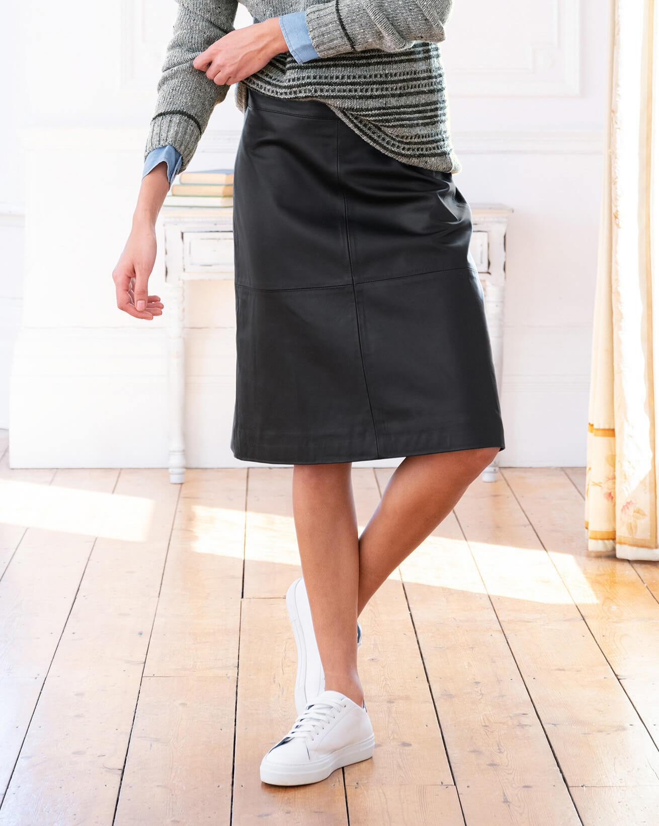 Leather Knee Length Skirt